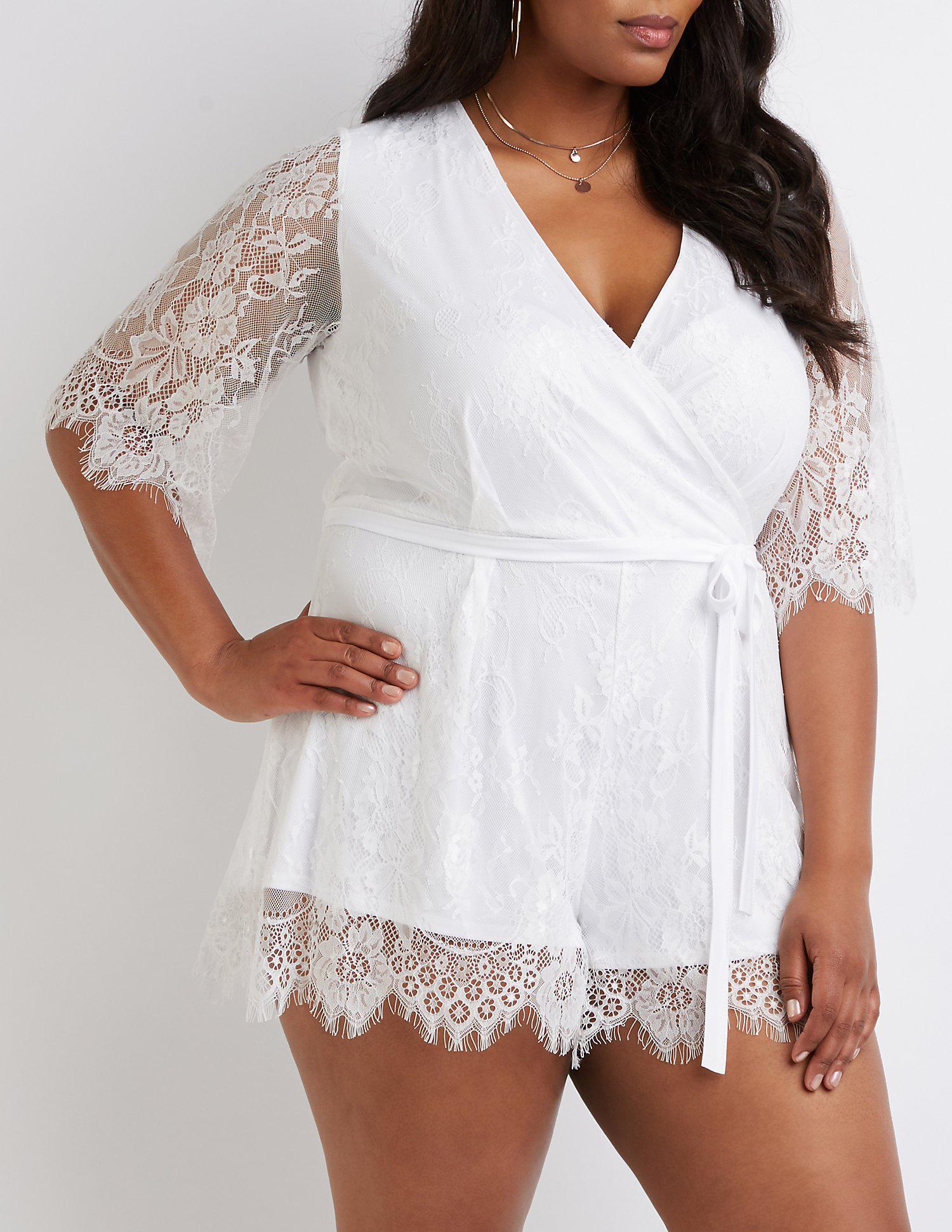 05d8c0e0821a Lyst - Charlotte Russe Plus Size Floral Lace Wrap Romper in White