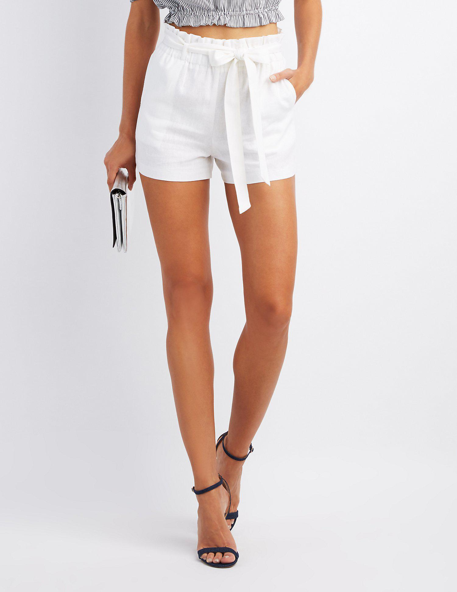 Lyst - Charlotte Russe Smocked Tie-front Shorts in White