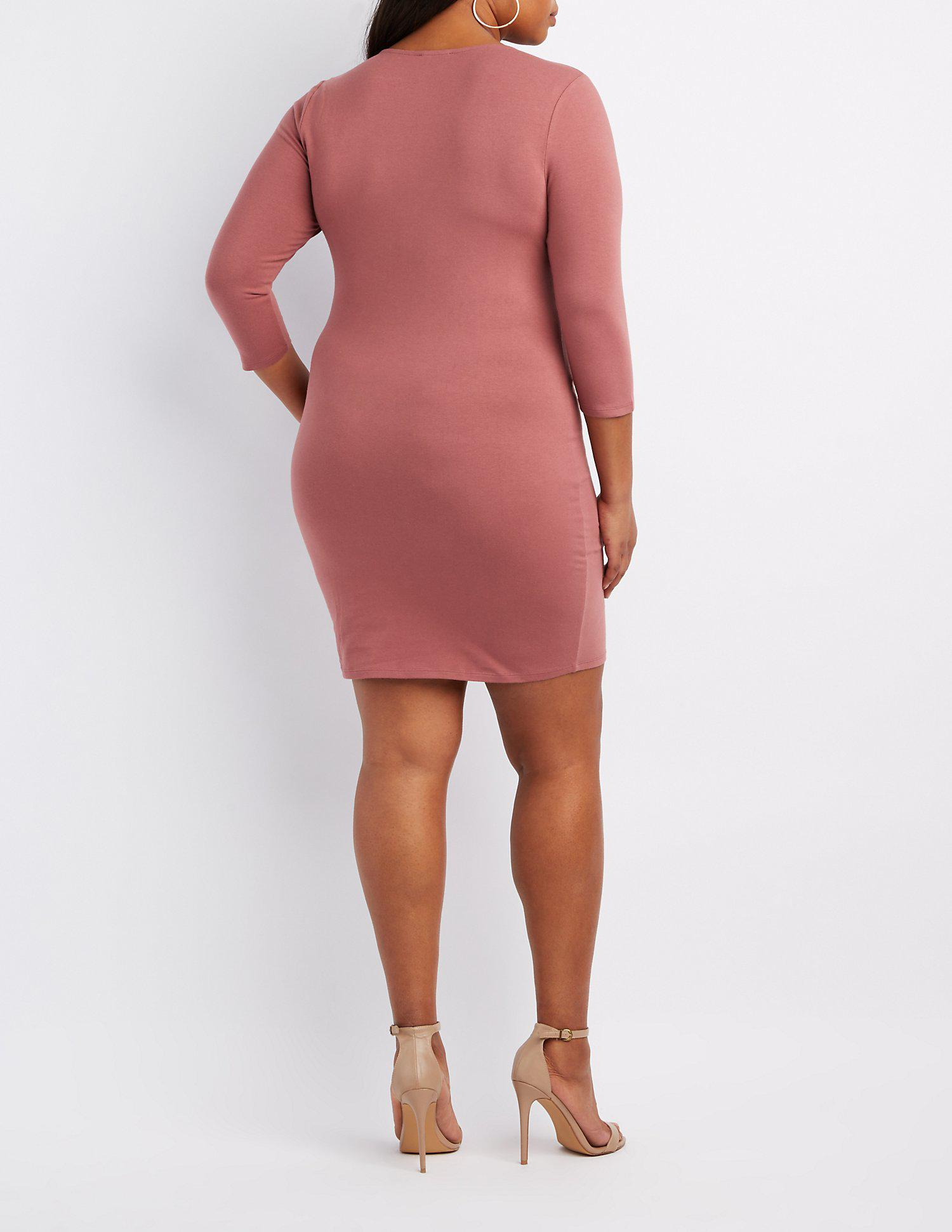 42443e26987fe Lyst - Charlotte Russe Plus Size Caged-front Bodycon Dress in Pink