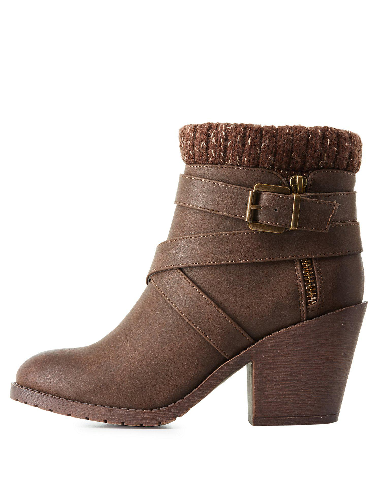 b6edf843994d Lyst - Charlotte Russe Knit-trim Ankle Booties in Brown