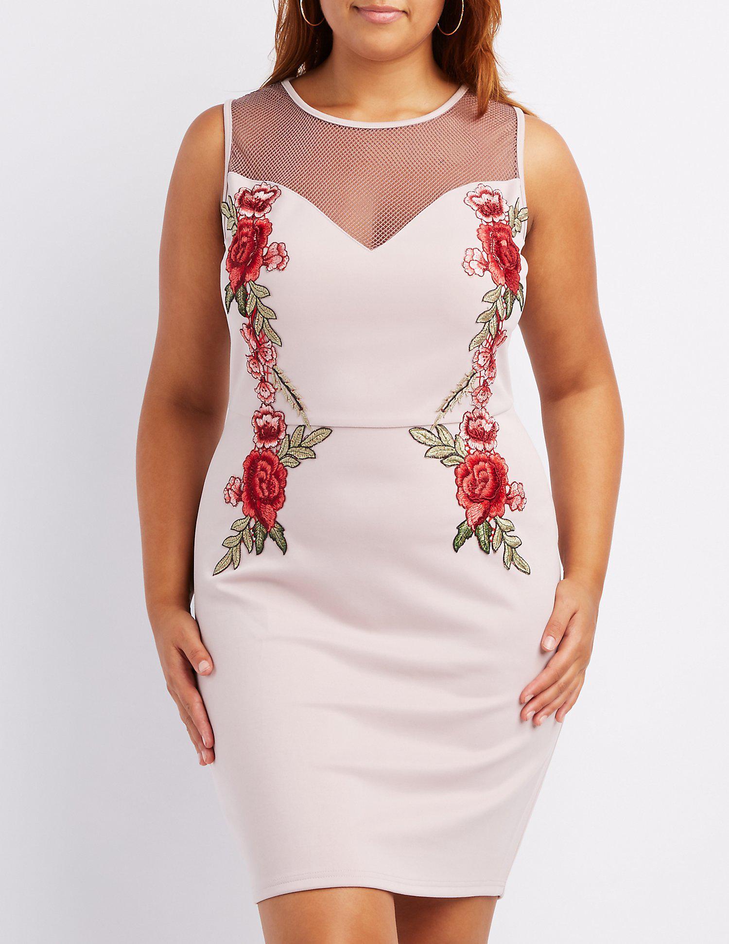 c28b3d7ddf6 Lyst - Charlotte Russe Plus Size Embroidered Mesh-trim Bodycon Dress ...