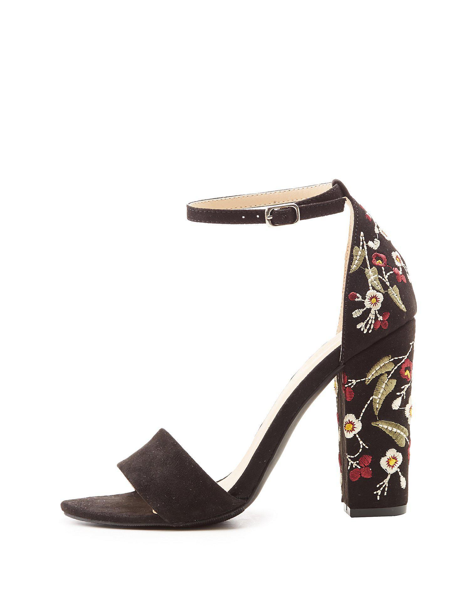 5160d3ee250 Lyst - Charlotte Russe Floral Embroidered Two-piece Sandals in Black ...
