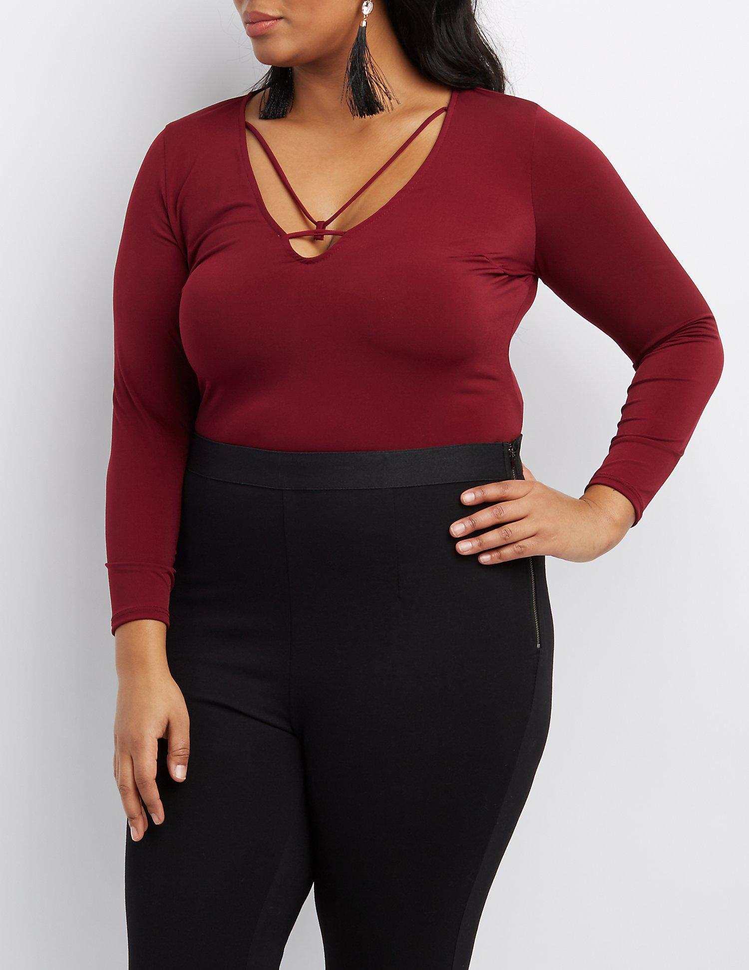 b395e554d89d0 Lyst - Charlotte Russe Plus Size Strappy Caged Plunging Bodysuit in Red