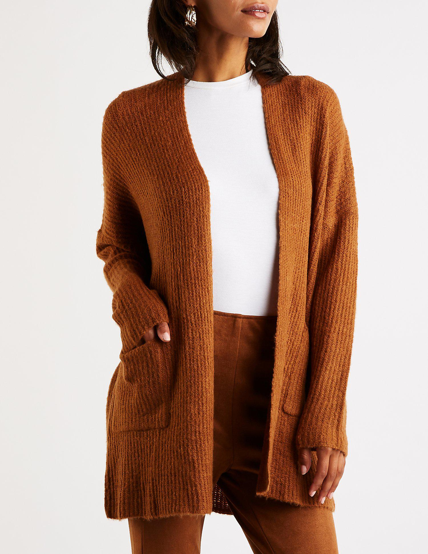 f8c71e9720 Lyst - Charlotte Russe Ribbed Duster Cardigan in Brown