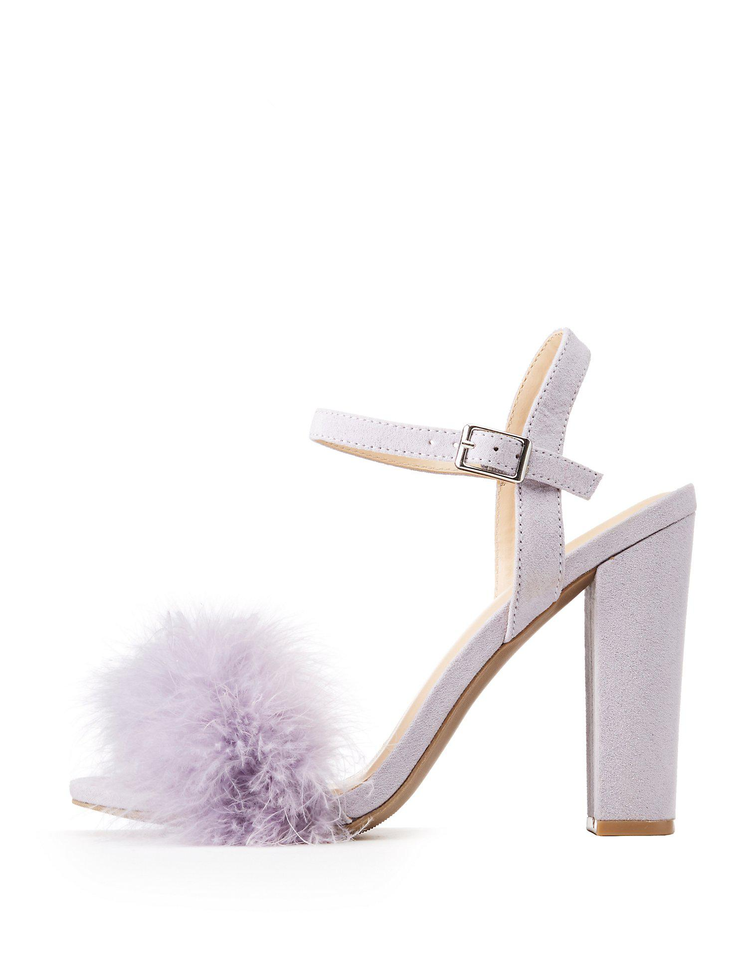 64606077f5a Lyst - Charlotte Russe Feather-trim Ankle Wrap Sandals in Purple ...