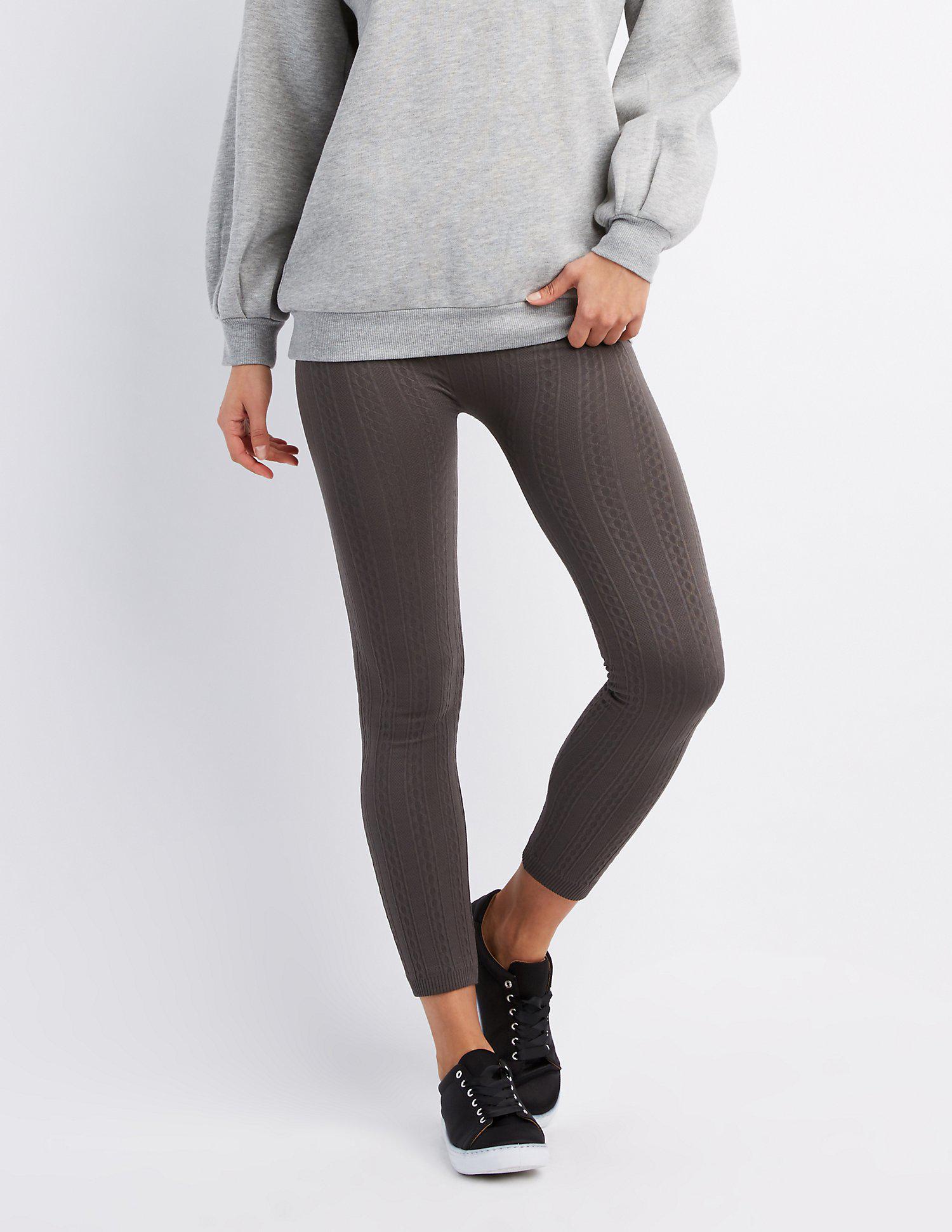 e380dd62fc6134 Lyst - Charlotte Russe Ribbed Fleece Lined Leggings in Gray