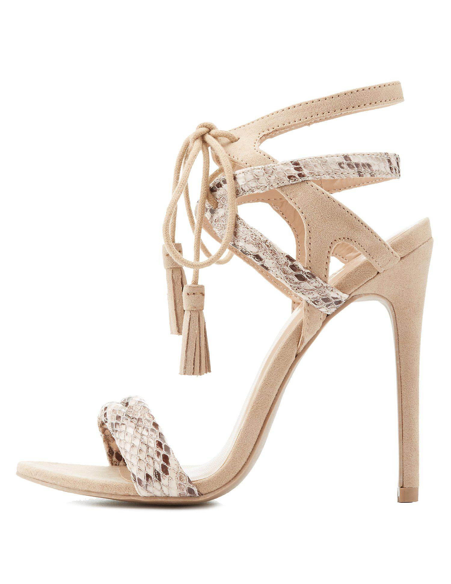 f5886cc9059 Lyst - Charlotte Russe Caged Faux Snakeskin Tassel Sandals in Natural
