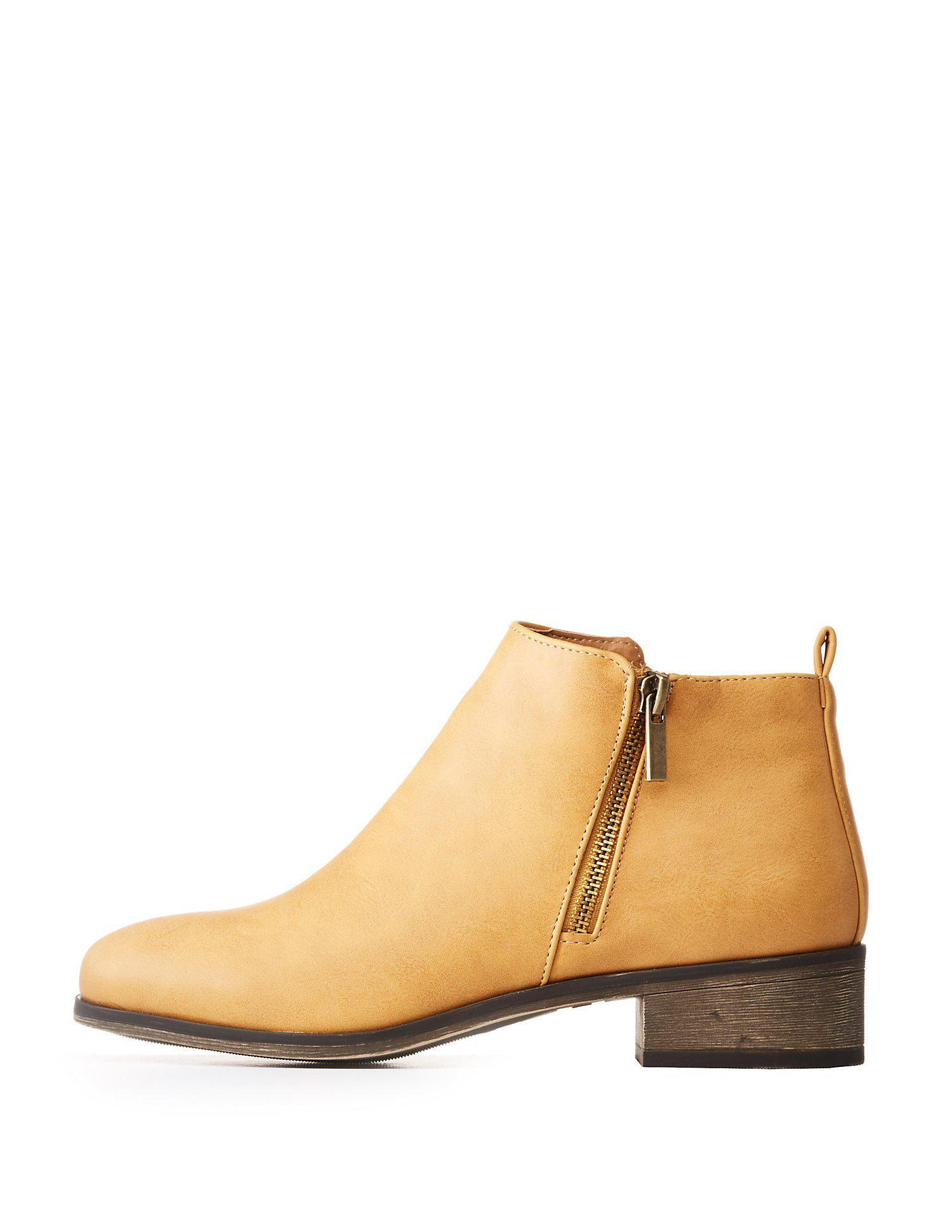 fdf9c3aedebd Lyst - Charlotte Russe Zip Up Ankle Booties in Natural