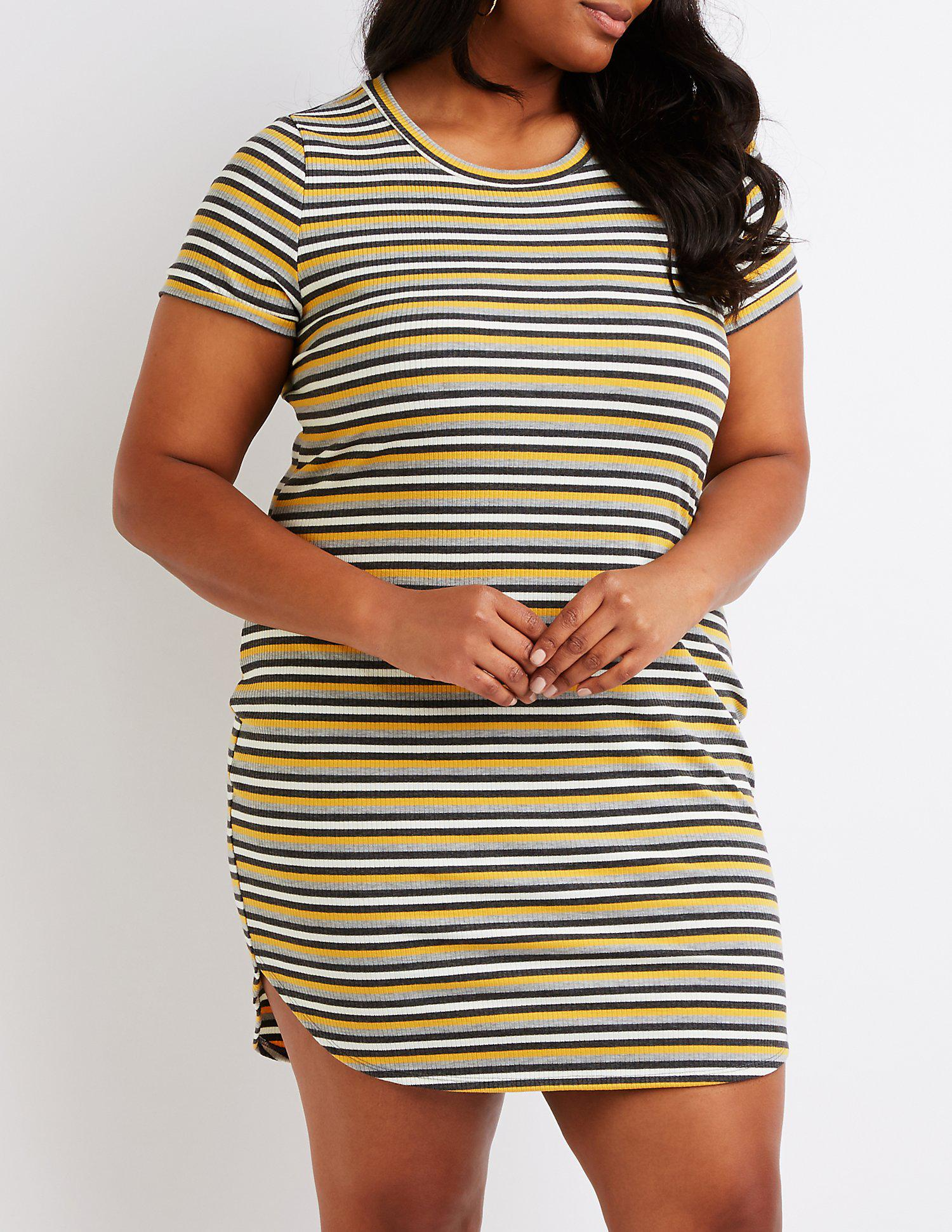 527bfc7ee83 Charlotte Russe. Women s Plus Size Striped Ribbed Dress