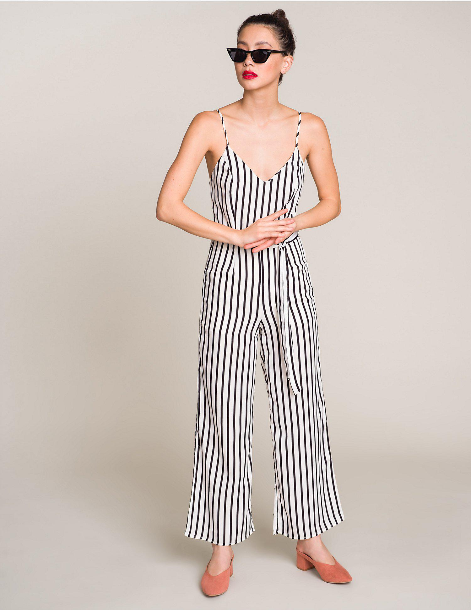 8eca2d92ea14 Lyst - Charlotte Russe Striped Wide Leg Jumpsuit in White