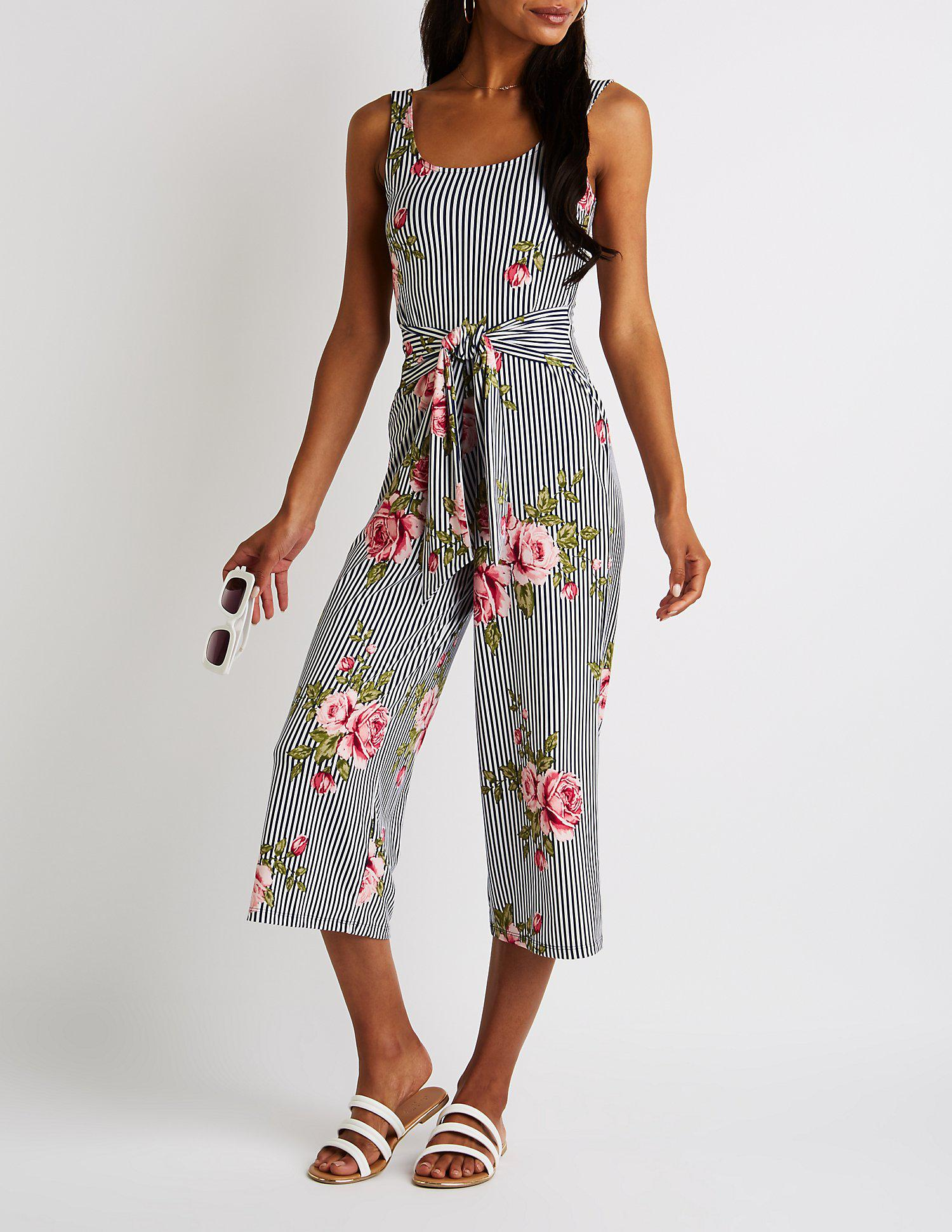 78a524fbb93 Lyst - Charlotte Russe Striped Floral Scoop Neck Cropped Jumpsuit in ...