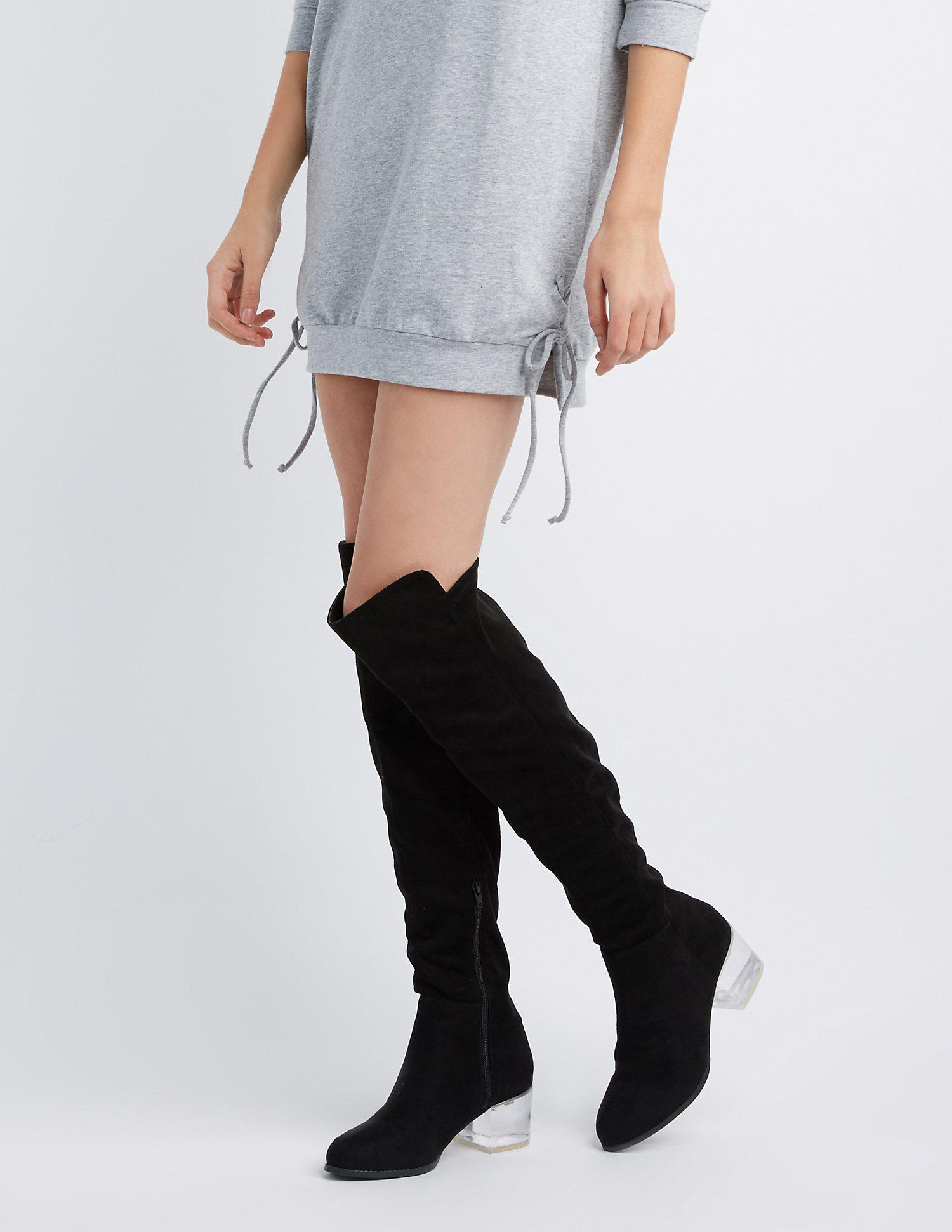 40ba75e14cd Lyst - Charlotte Russe Clear Heel Over-the-knee Boots in Black