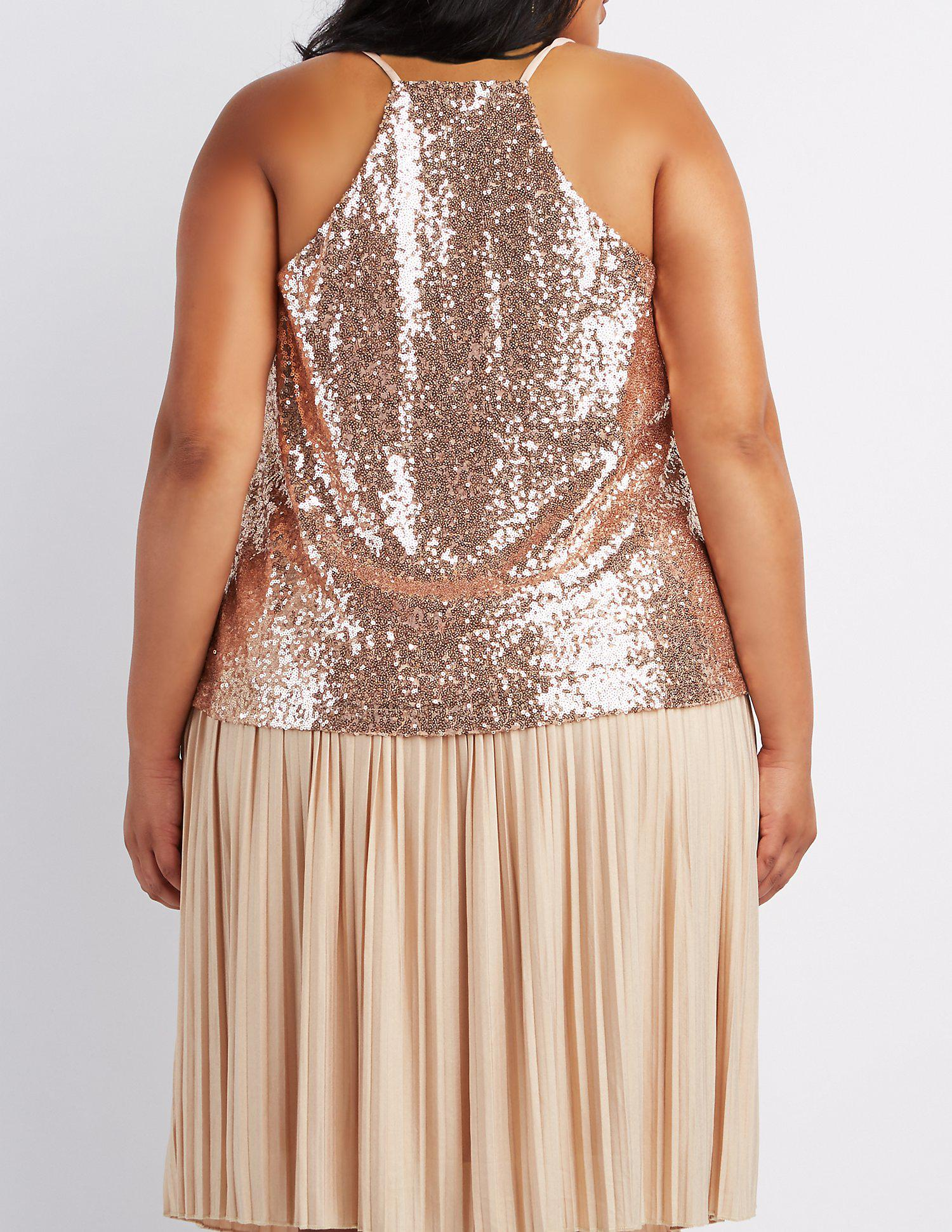 41a0f870331b1a Plus Size Rose Gold Sequin Tops