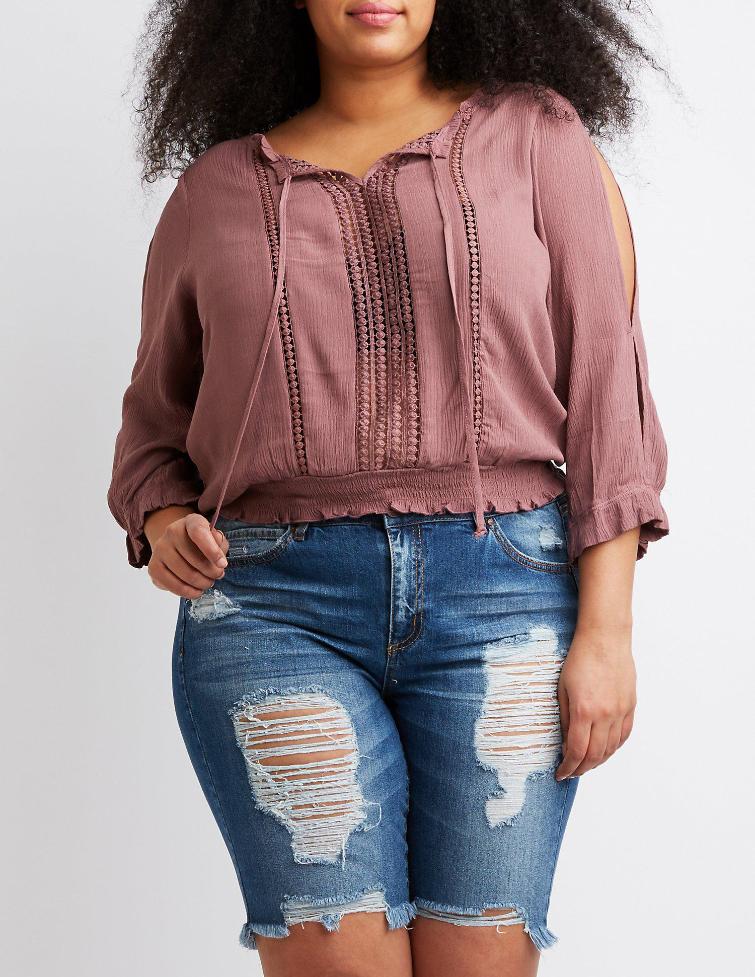 f2452caf24a6dd Lyst - Charlotte Russe Plus Size Cold Shoulder Top in Purple - Save 22%