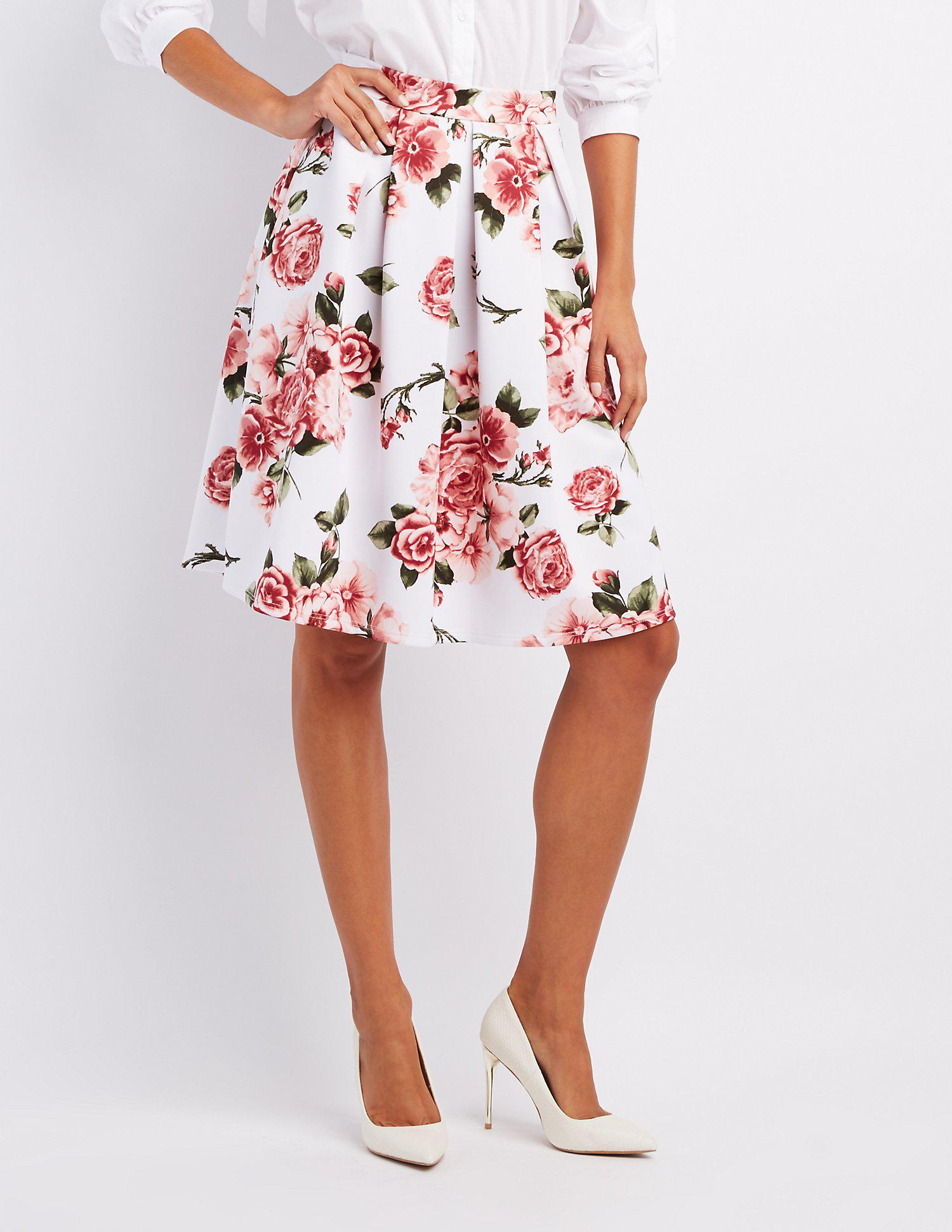 94166e1af1d Lyst - Charlotte Russe Floral Pleated Midi Skirt