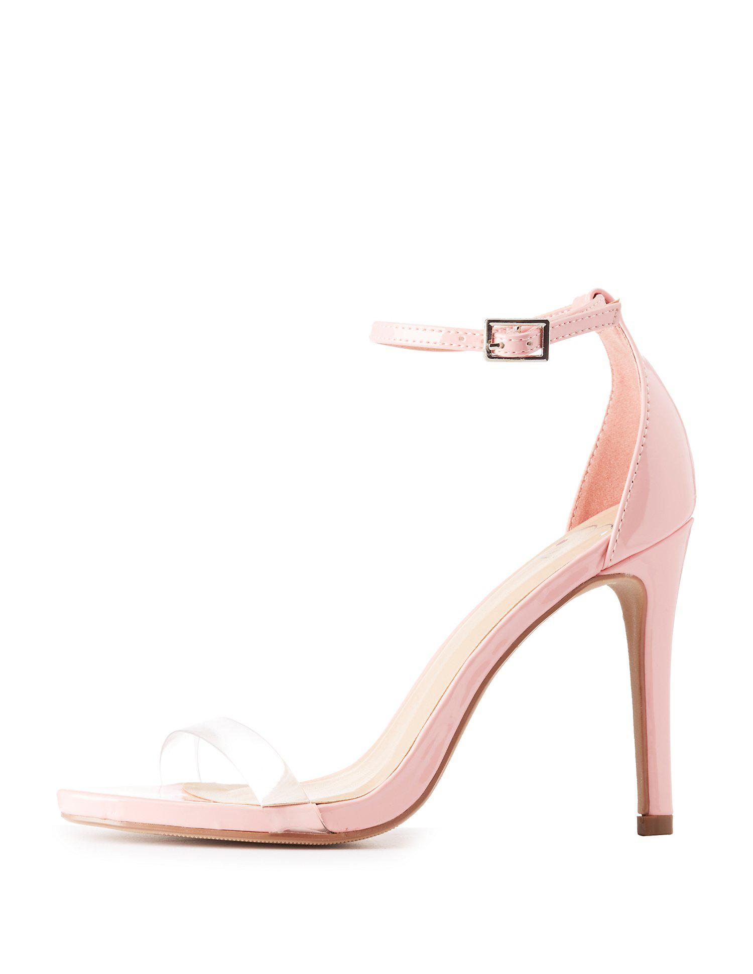 2550cd8018a Lyst - Charlotte Russe Clear Strap Two-piece Sandals in Pink