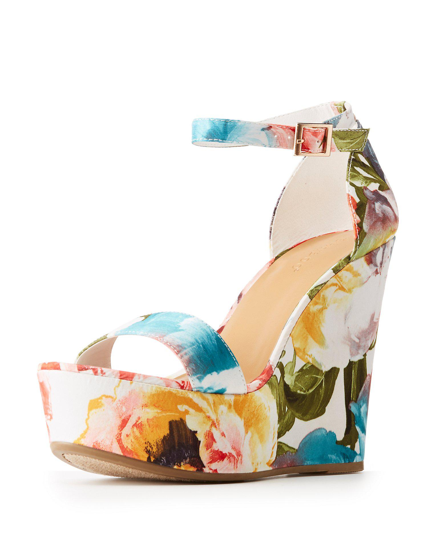 b7047cf0e070 Lyst charlotte russe bamboo floral wedge sandals in blue jpg 1500x1941 Charlotte  russe wedge sandals