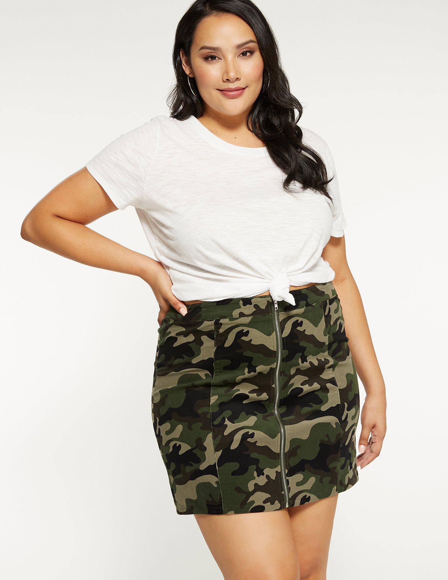 6e47e27a2ca Lyst - Charlotte Russe Plus Size Zip Up Camo Skirt