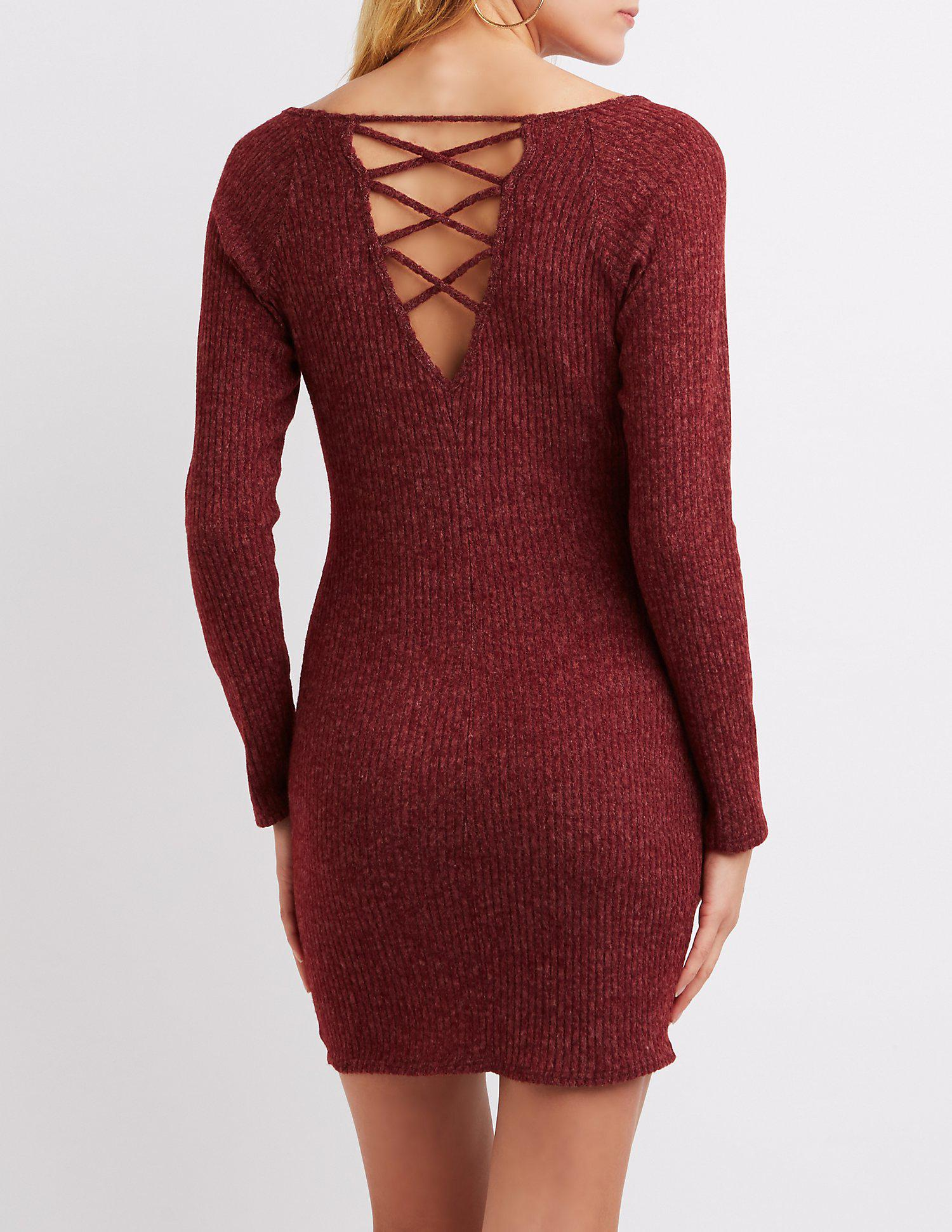 9e2157dbcefd Lyst - Charlotte Russe Ribbed Lattice-back Bodycon Dress in Red
