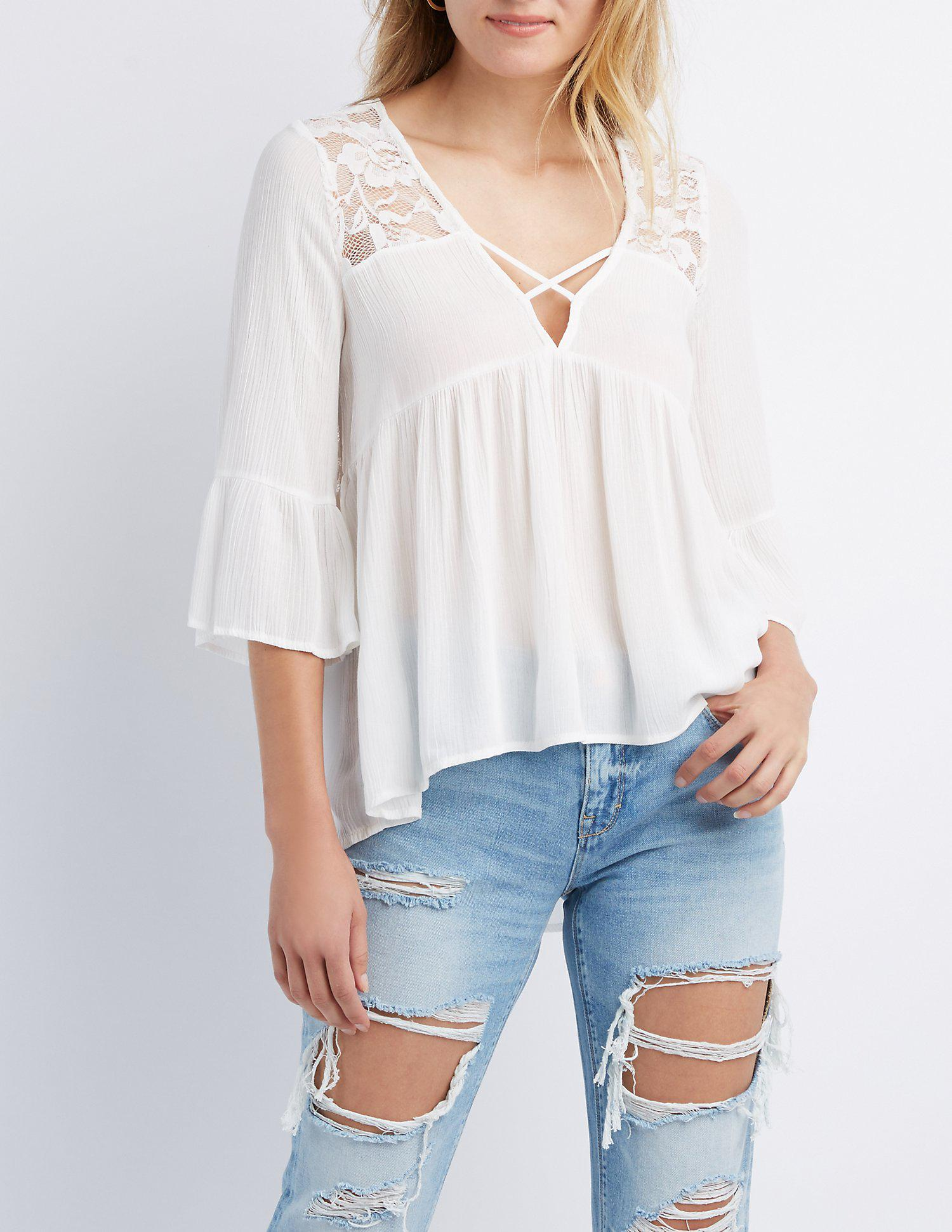 605808658af Lyst - Charlotte Russe Lace-trim Bell Sleeve Top in White