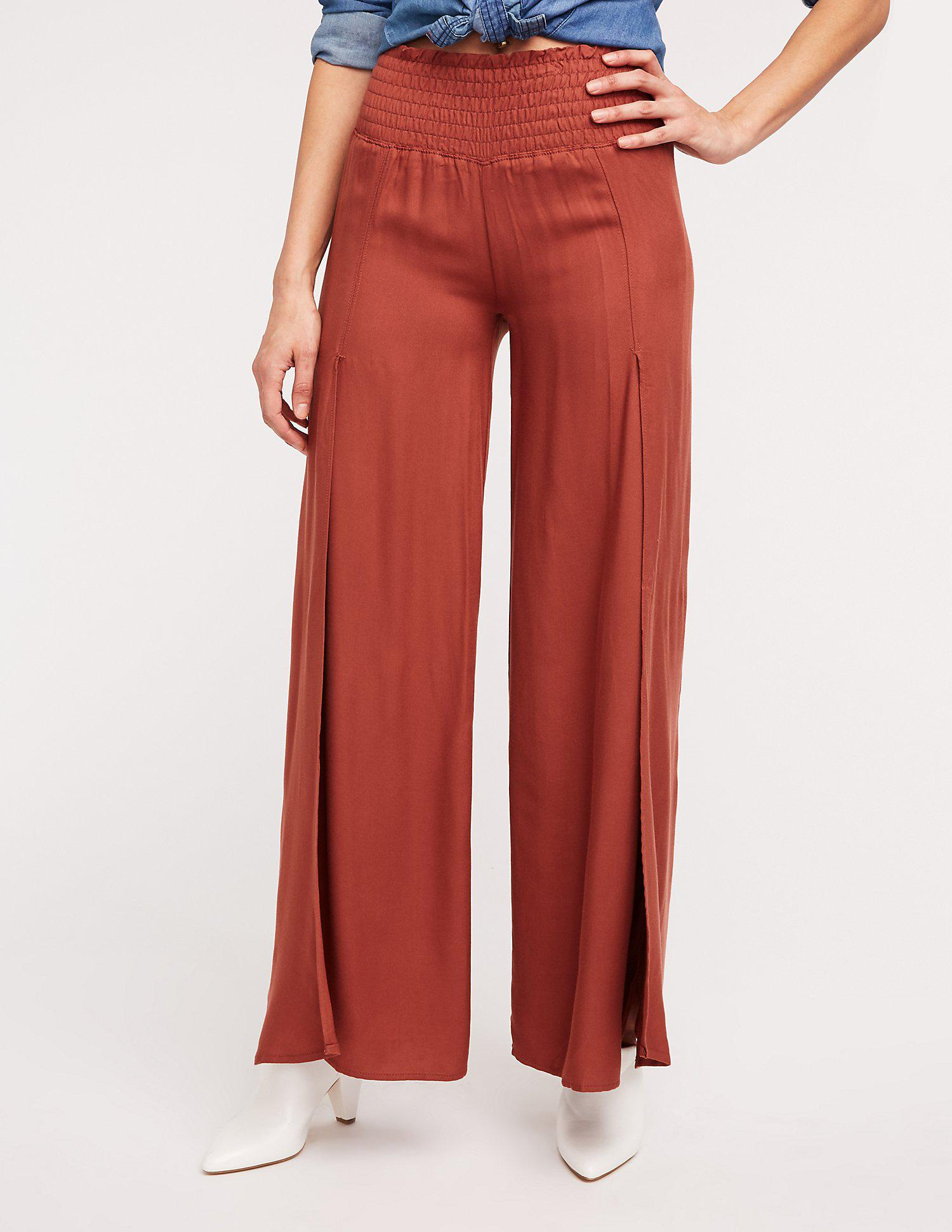 32c158408fa20 Lyst - Charlotte Russe Smocked Split Leg Palazzo Pants in Red
