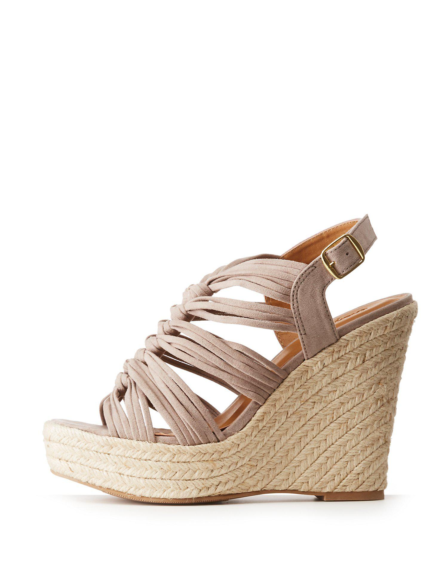 3b71690d0d3 Charlotte Russe. Women s Brown Faux Suede Espadrille Wedge Strappy Sandals