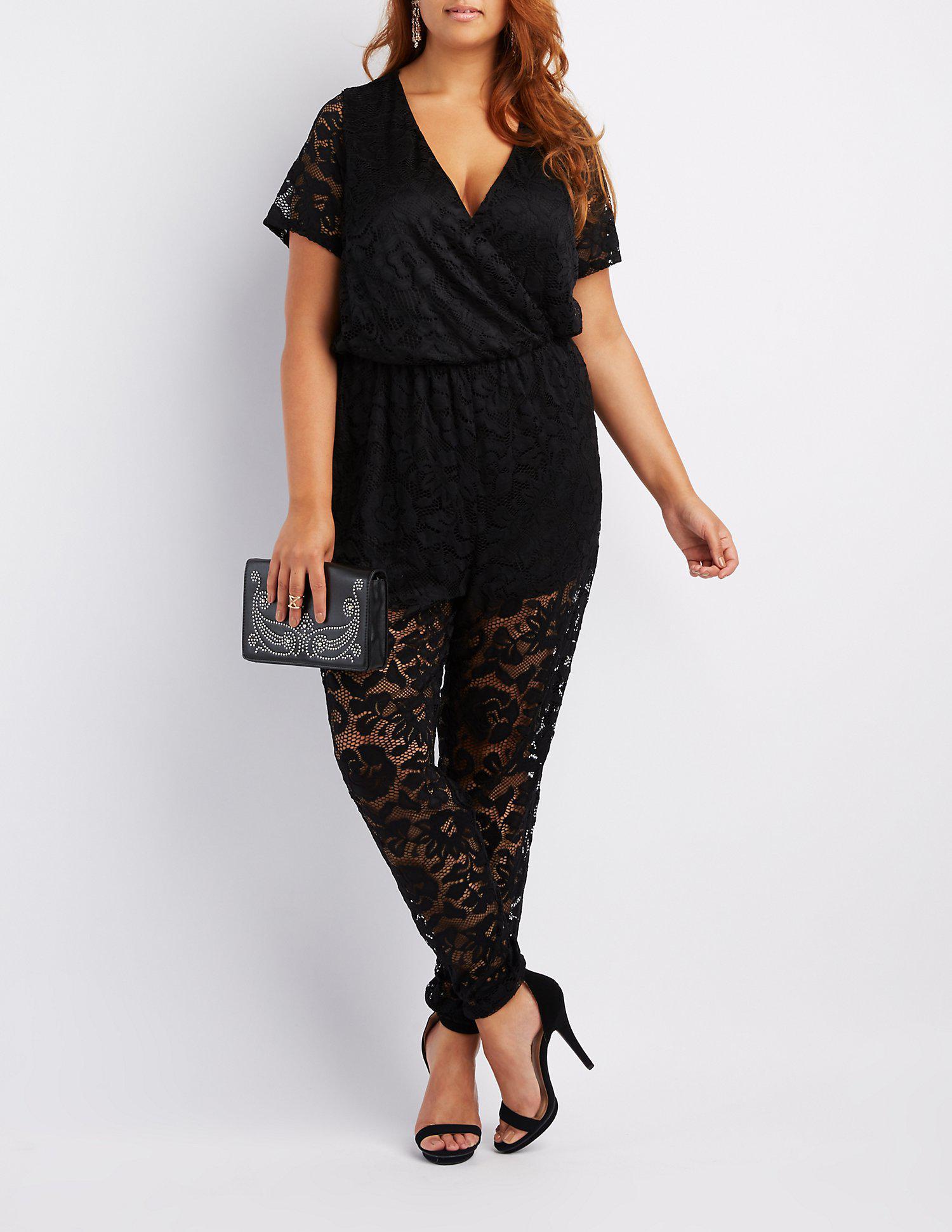 Lyst Charlotte Russe Plus Size Lace Surplice Jumpsuit In Black