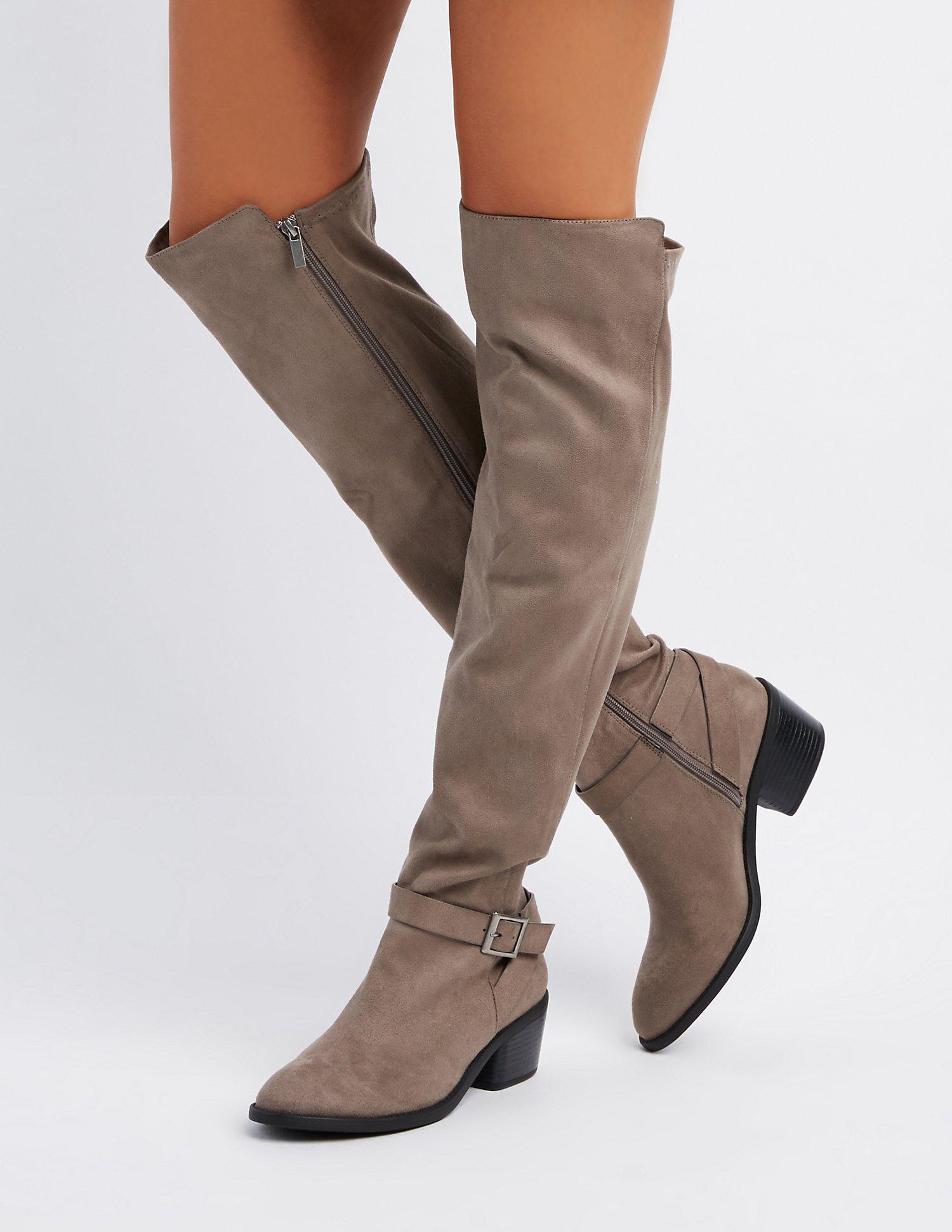 35f405cf908 Lyst - Charlotte Russe Bamboo Over-the-knee Riding Boots in Gray