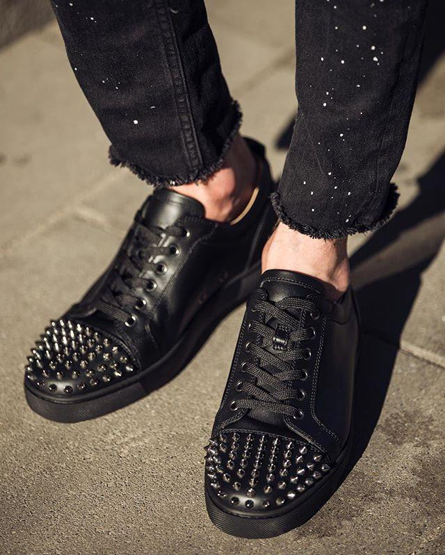 3ded79ec9d8 Christian Louboutin - Black Louis Junior Spikes Leather Sneakers for Men -  Lyst. View fullscreen