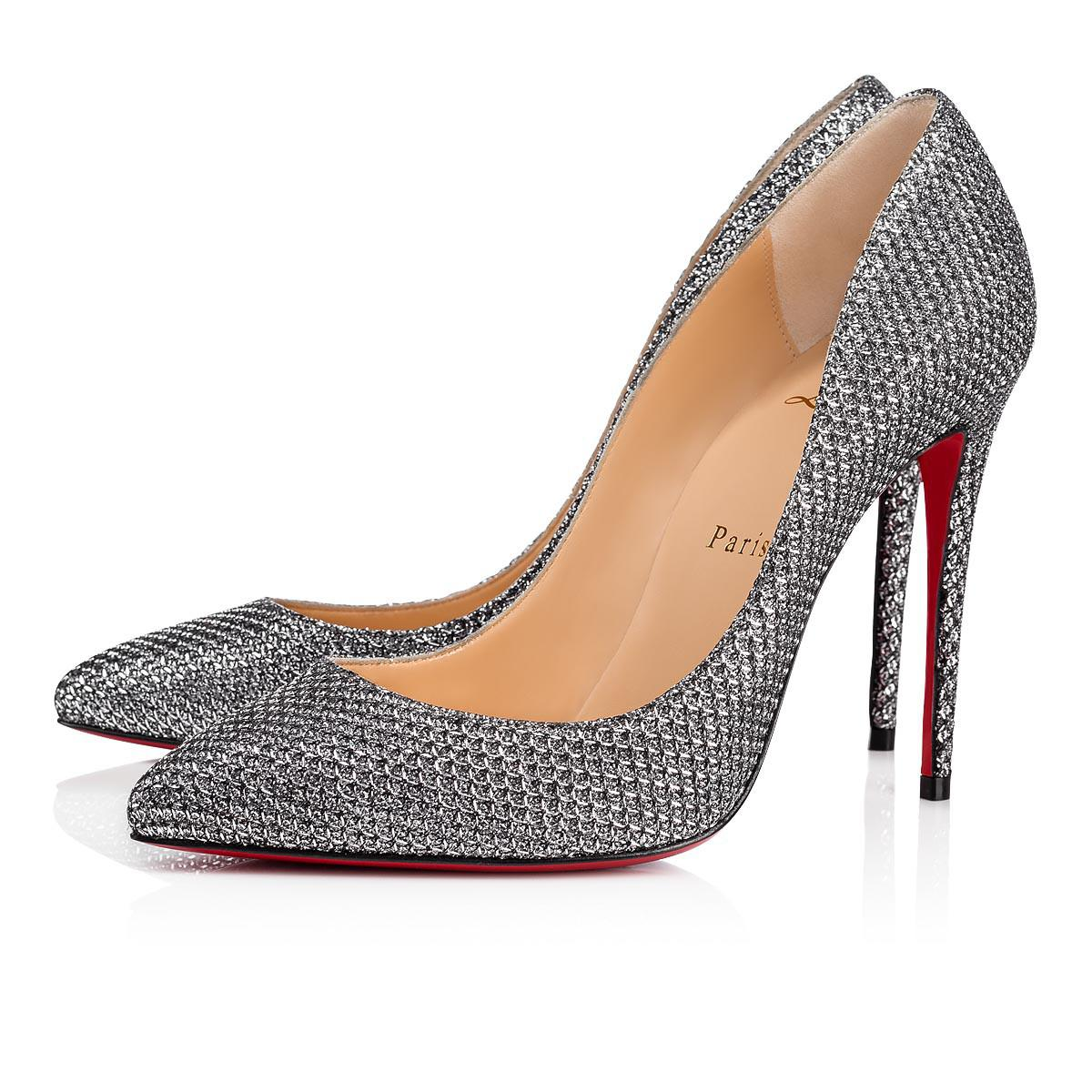 46c2af0fde8 Christian Louboutin Pigalle Follies Glitter Diams 100 Antic Silver ...
