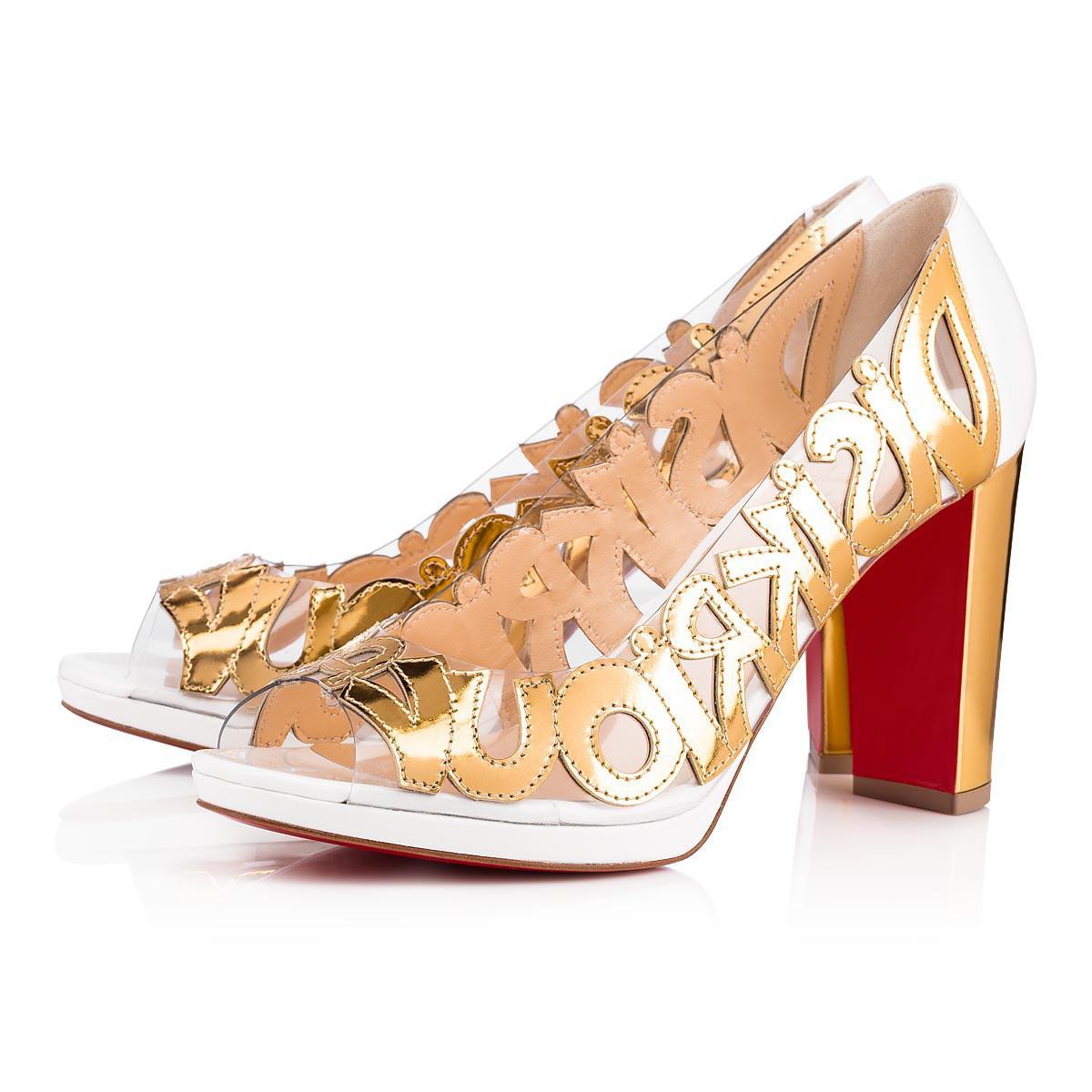 ddcfef9304280 Christian Louboutin. Women s Metallic We Know Specchio pvc 100 Version Gold  Specchio laminato