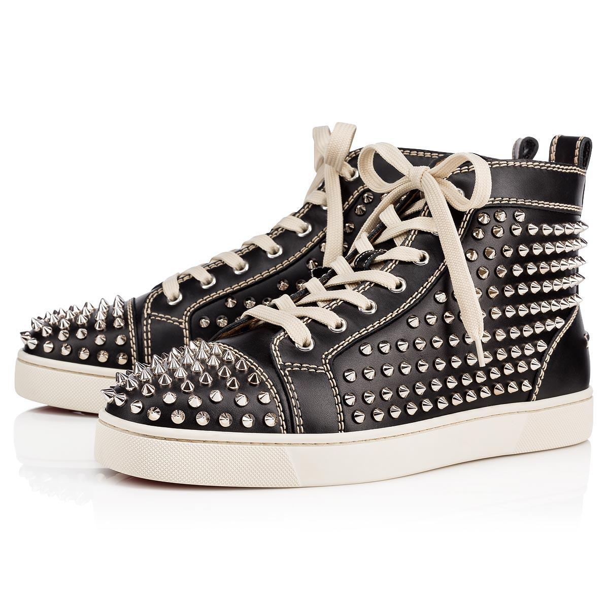 d4ae0ee4c7e Christian Louboutin Louis Calf spikes Black silver Leather in Black ...