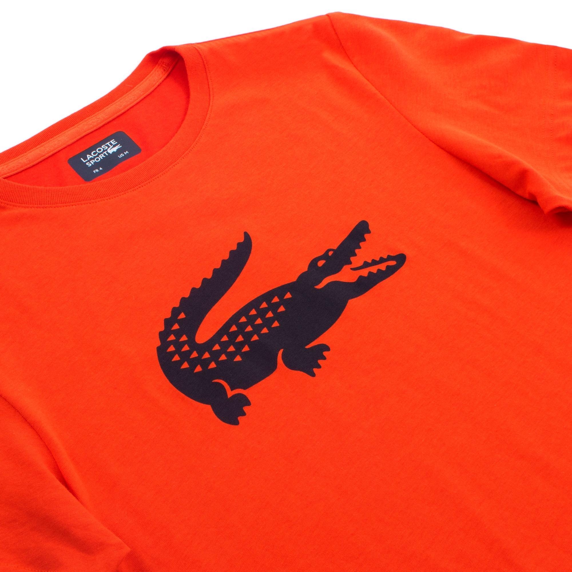 5a5269f2 Lacoste Sport - Orange Crocodile Technical Jersey Tennis T-shirt for Men -  Lyst. View fullscreen