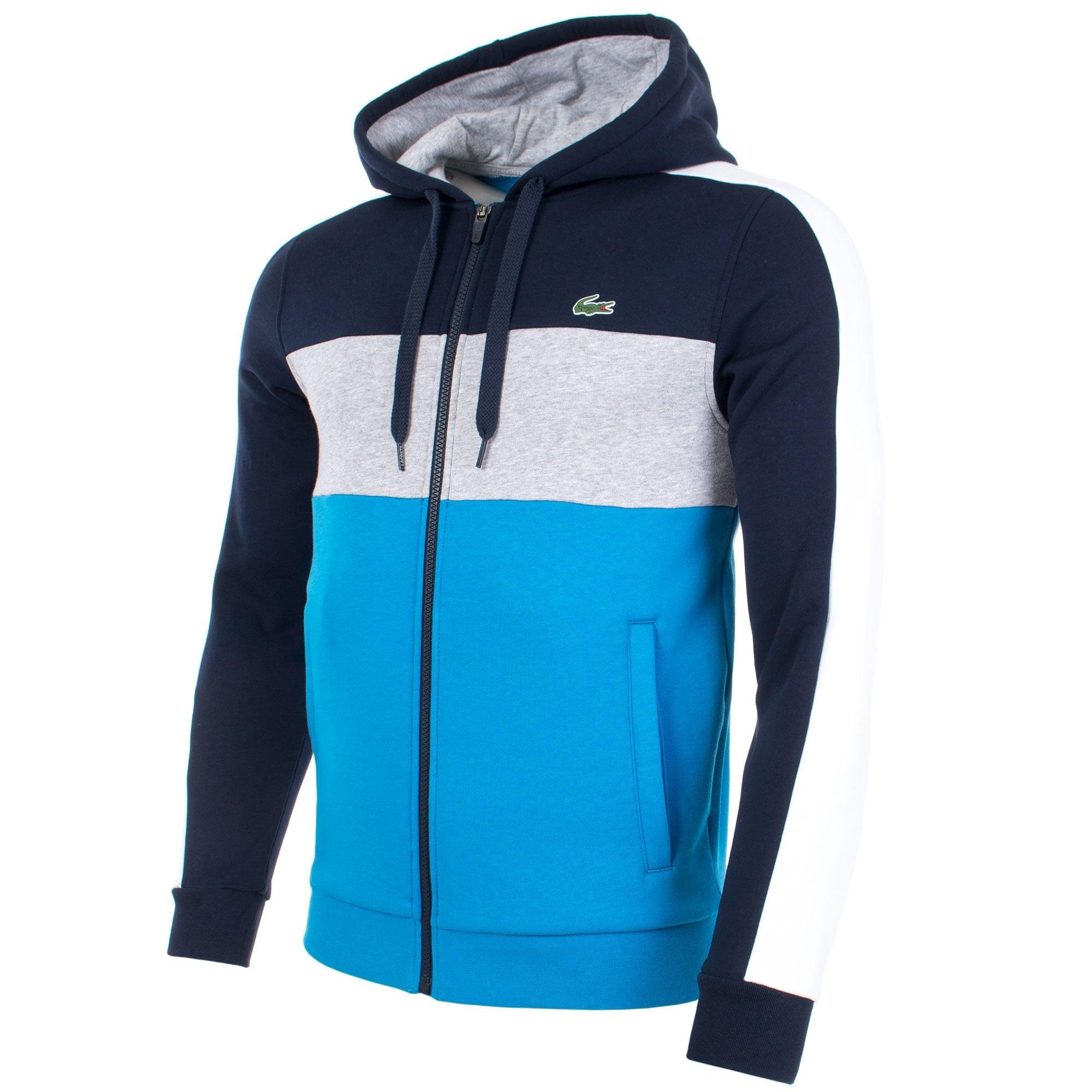 44d91aaf Lacoste Zip Through Colour Block Hoodie in Blue for Men - Lyst