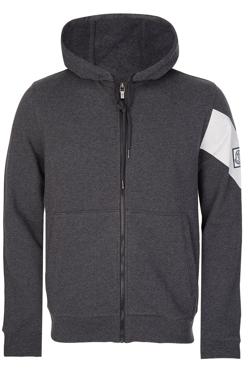 03c3e7210424b Moncler Men's Grey Angle Sleeve Stripe Hoodie in Gray for Men - Lyst