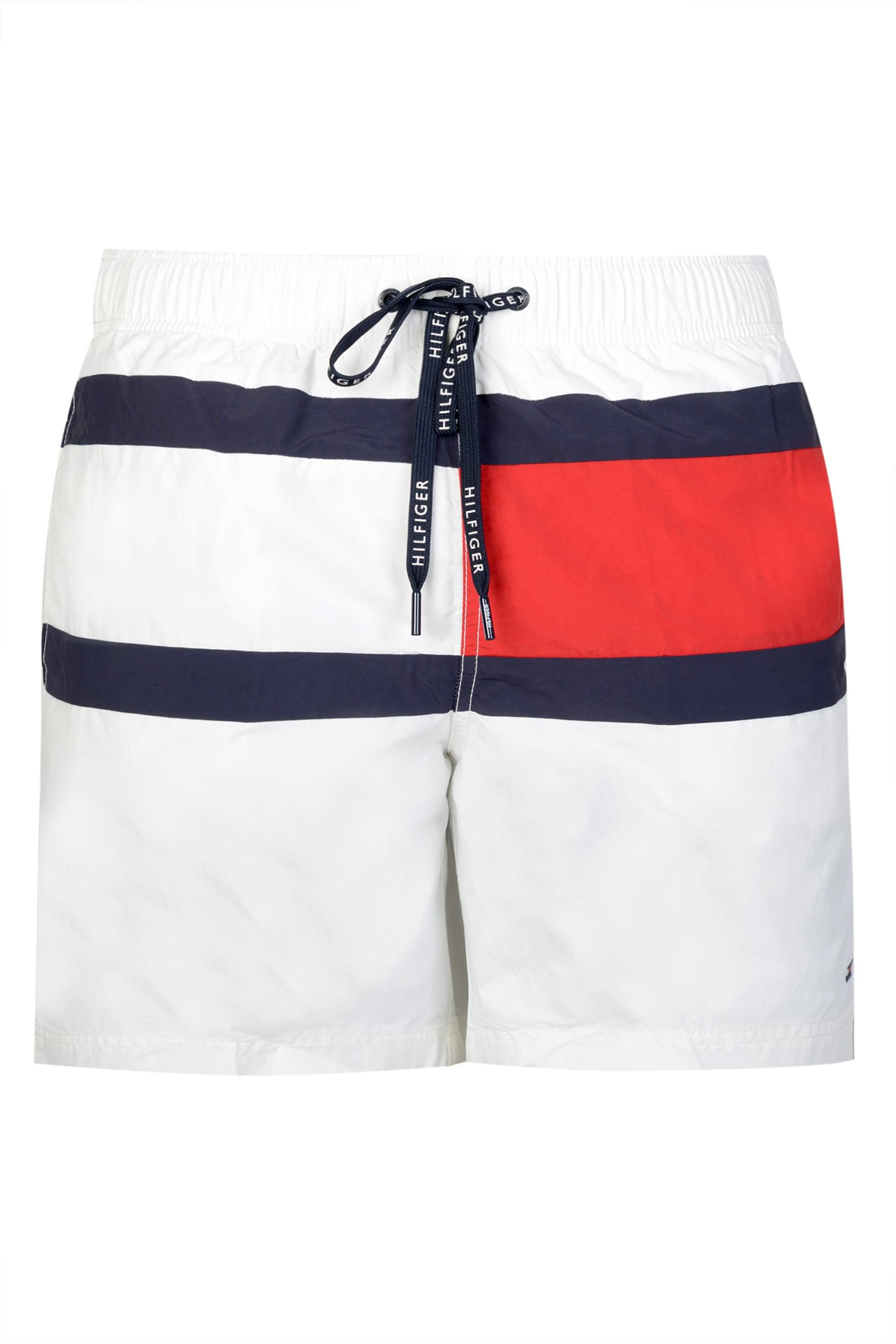 7c0f779e93ff93 Tommy Hilfiger - White Colour-blocked Drawstring Swim Shorts for Men - Lyst