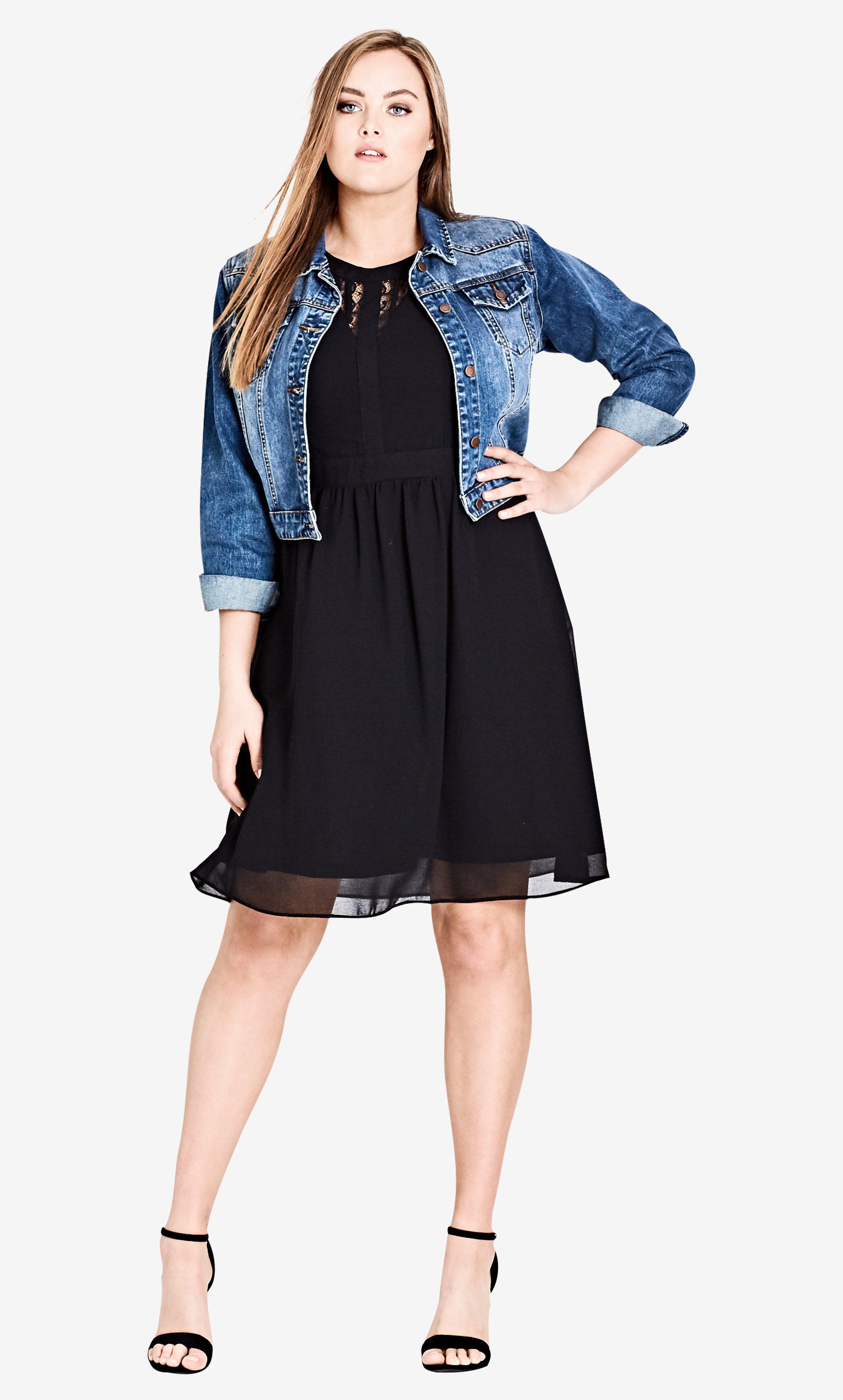 261a026681 Lyst - City Chic Dark Romance Fit   Flare Dress - Black in Black