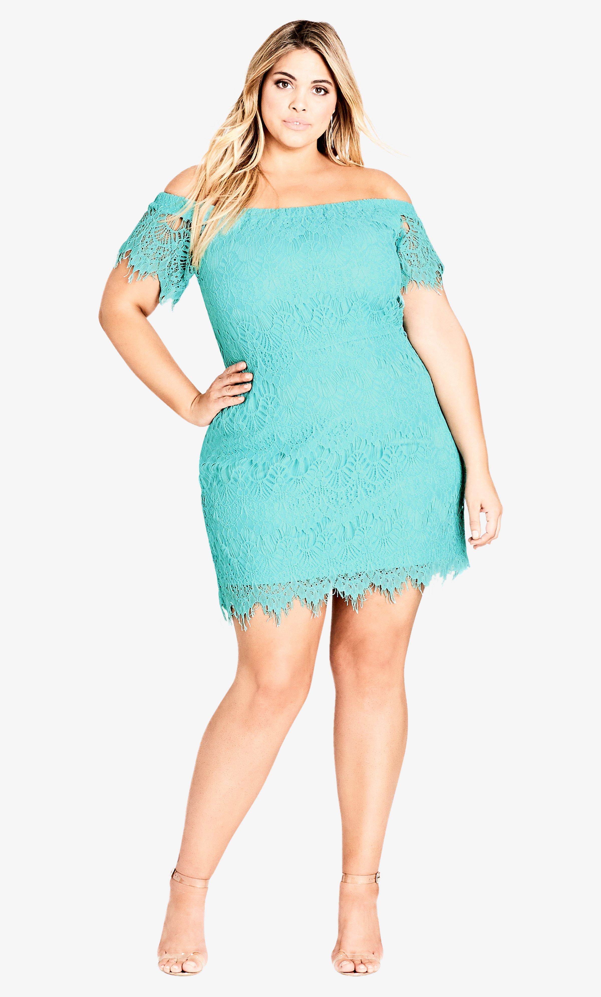 1e0968d6a694 Lyst - City Chic Mint Lace Off Shoulder Dress in Blue