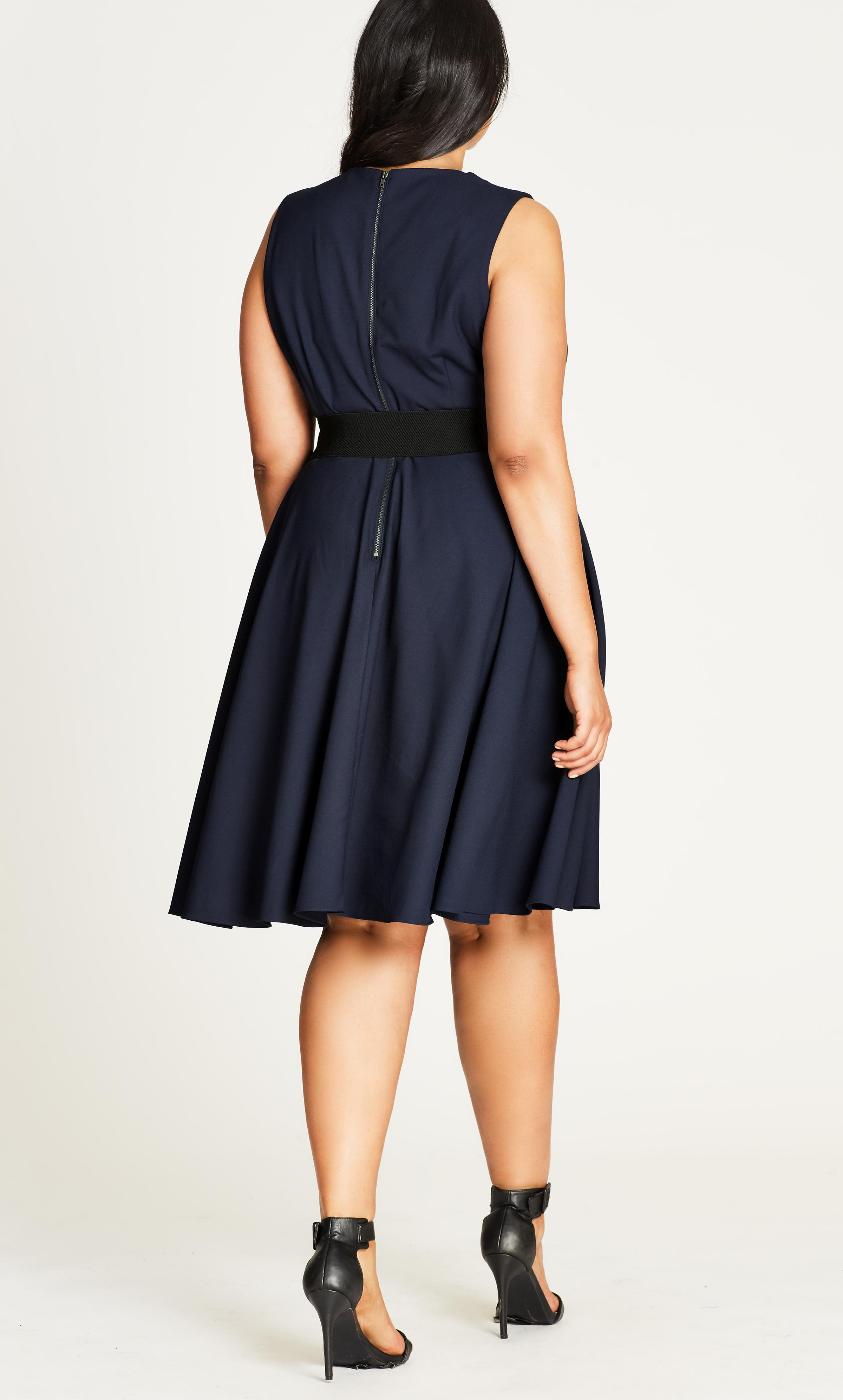 70dc9adab744 City Chic - Blue Navy Vintage Veronica Fit   Flare Dress - Lyst. View  fullscreen
