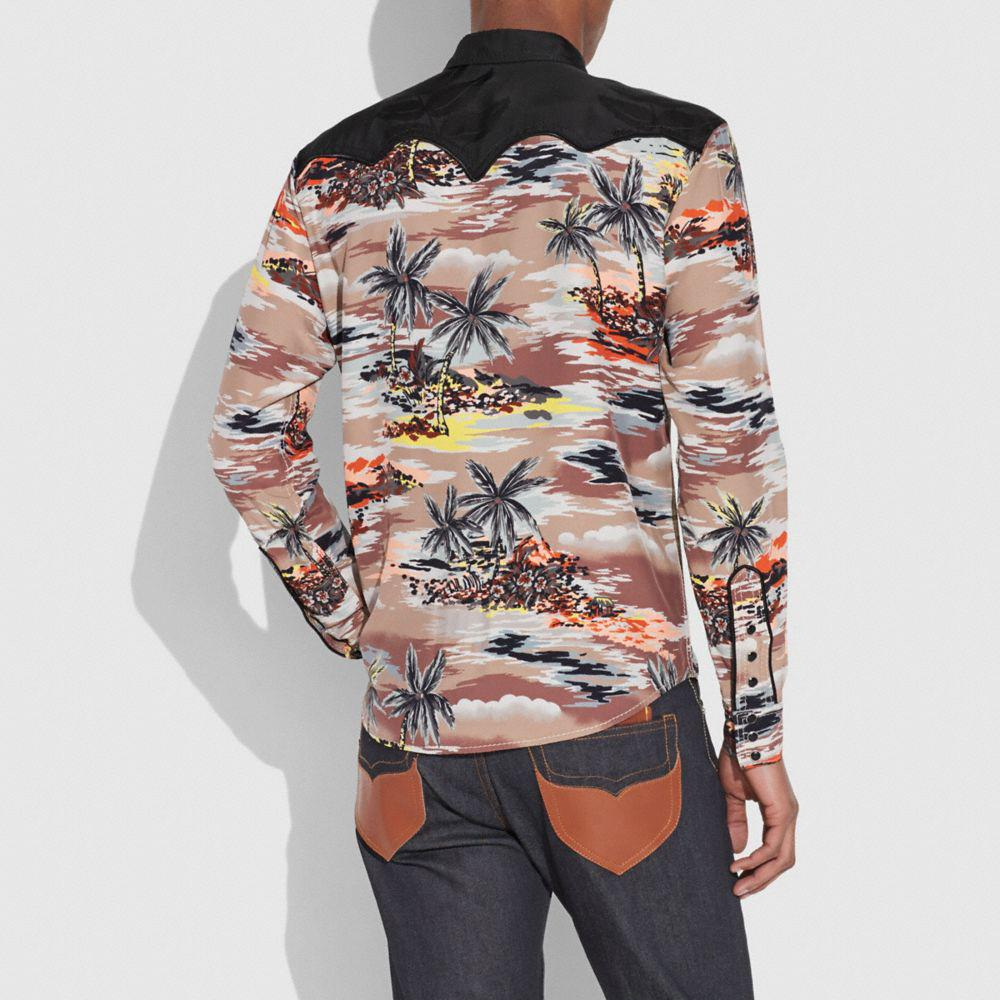 18c8130a6 Lyst - COACH Hawaiian Print Western Shirt in Brown for Men