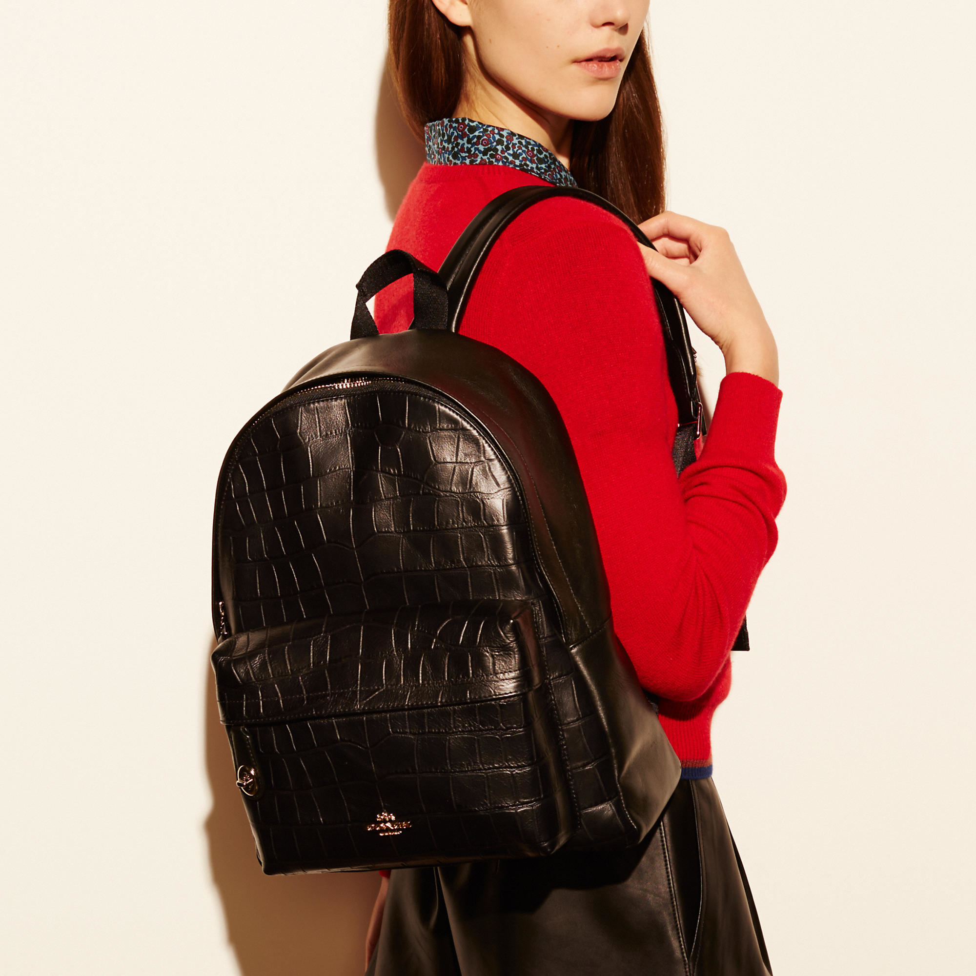cf0d5c6a9a Lyst - COACH Campus Backpack In Croc Embossed Leather