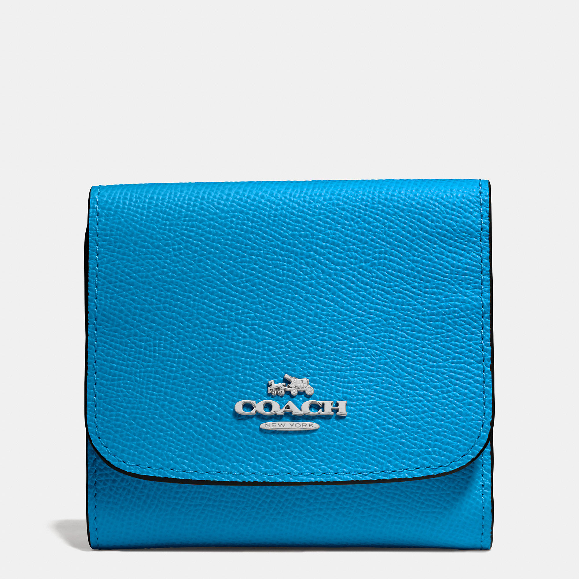 2cf9abd46d241 ... store coach small wallet in crossgrain leather in blue lyst c8789 4ab48