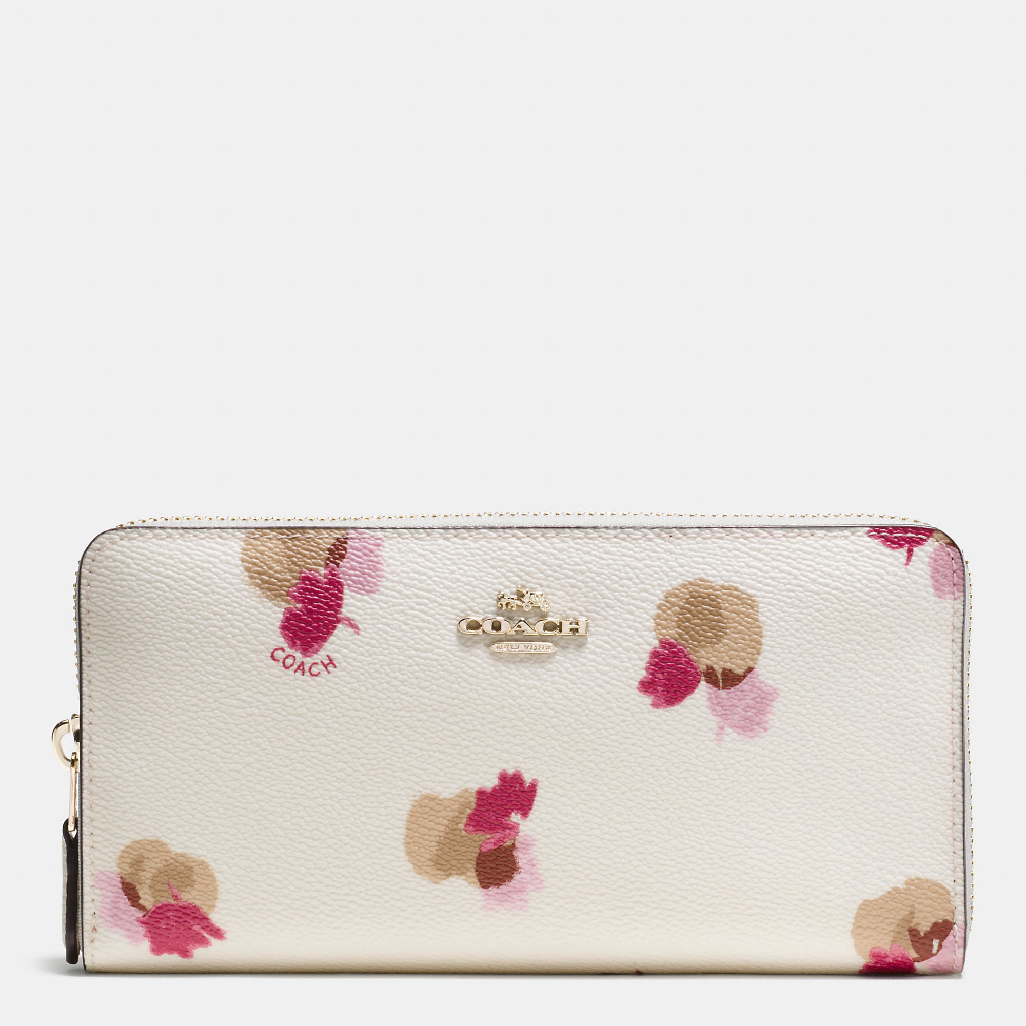 Lyst Coach Accordion Zip Wallet In Floral Print Coated Canvas In Pink