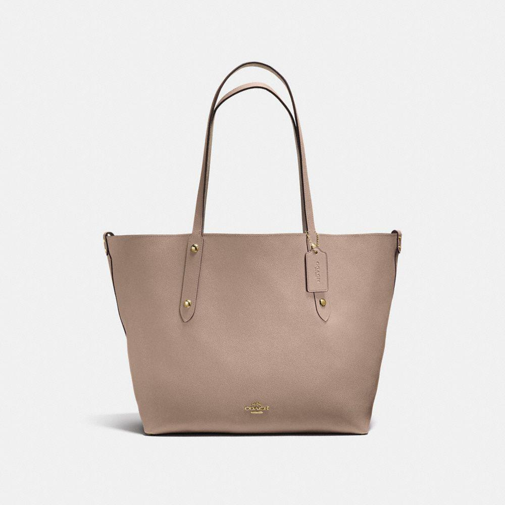 c17080ca54 Lyst - COACH Reversible Large Market Tote In Suede And Crossgrain ...