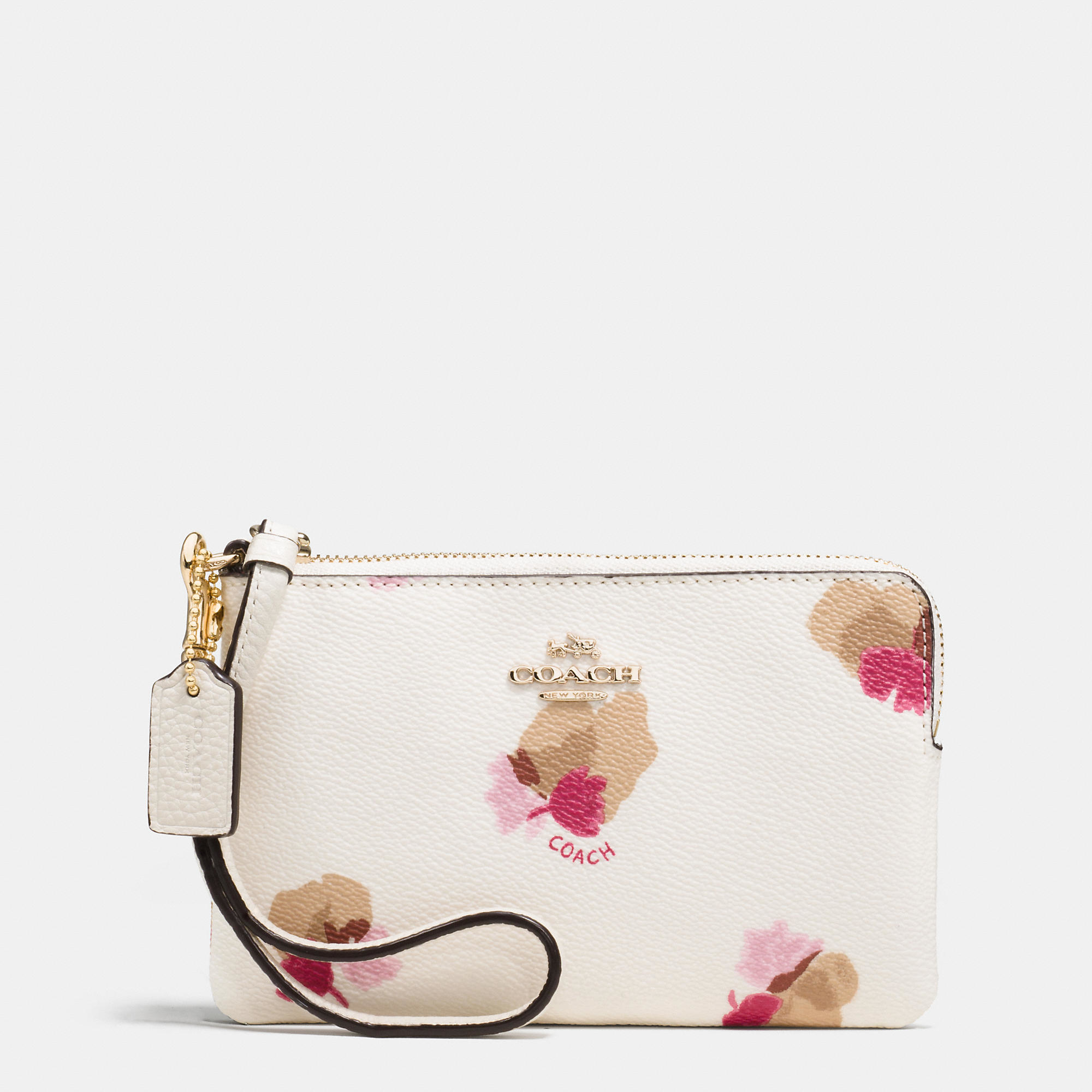 4703dae792ab ... coupon for lyst coach corner zip wristlet in floral print coated canvas  in 890cc 66c32