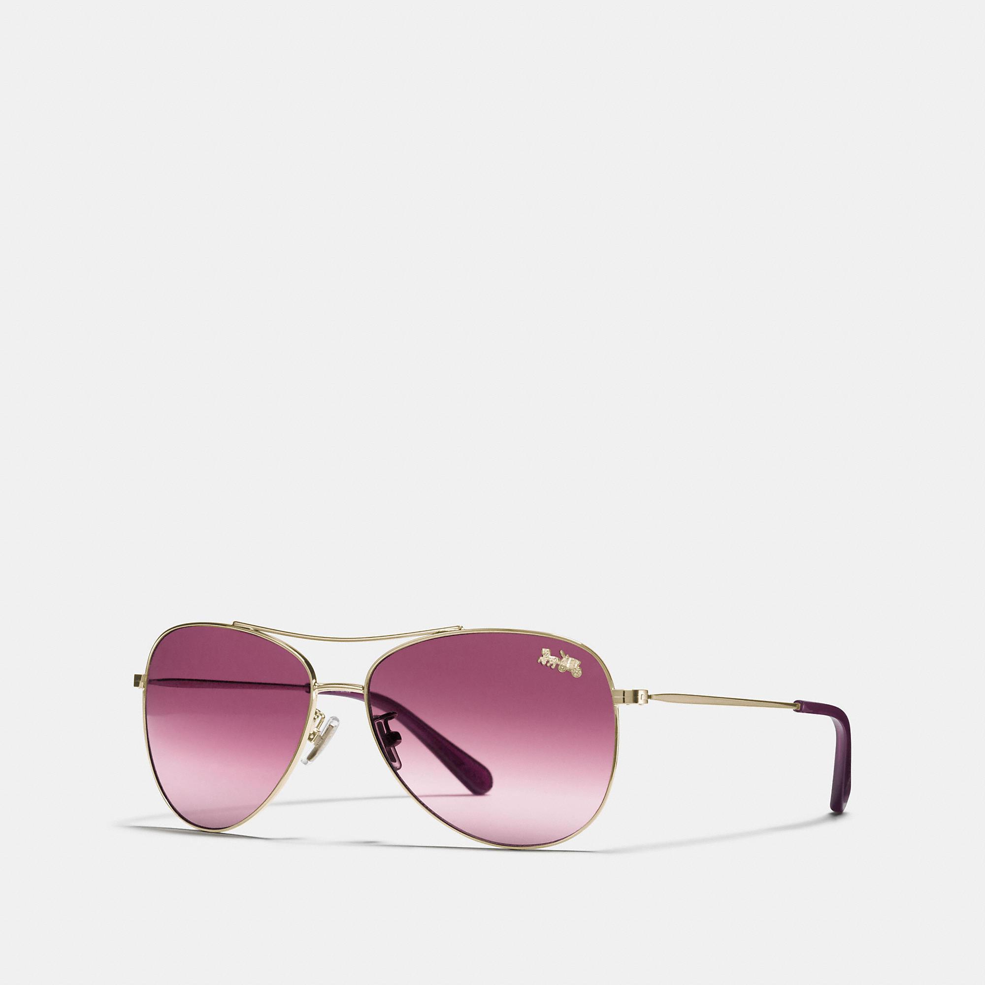 8f745bf0a069e COACH Thin Metal Pilot Sunglasses - Lyst