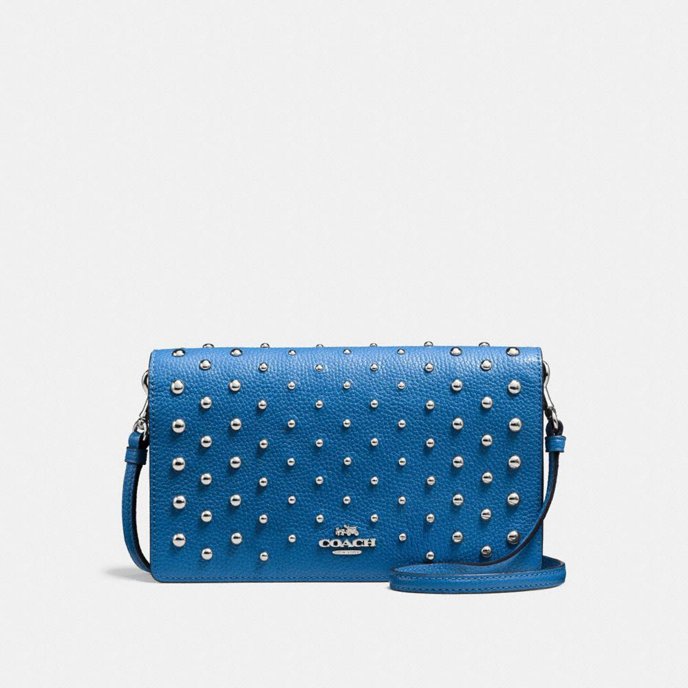 9ecfd1135 COACH Foldover Crossbody With Ombre Rivets in Blue - Lyst