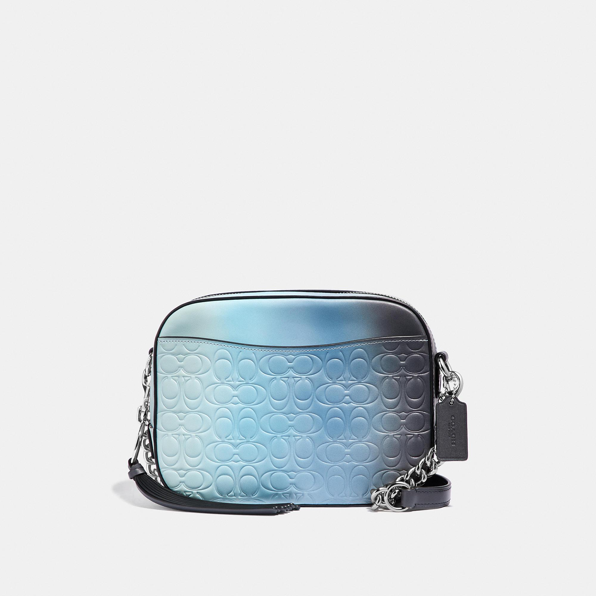 676005c5d Lyst - COACH Camera Bag In Ombre Signature Leather in Blue