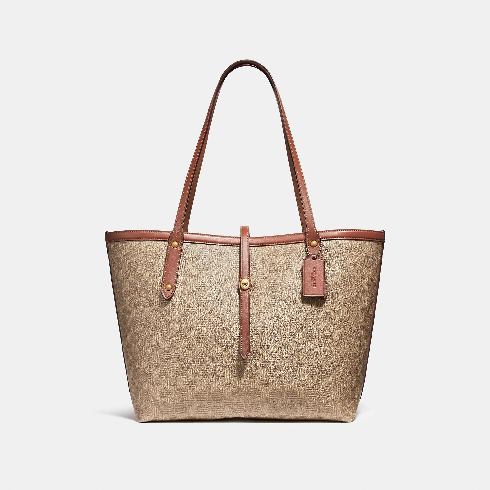 1b6ae7b5958b COACH Market Tote In Signature Canvas in Brown - Save 25% - Lyst