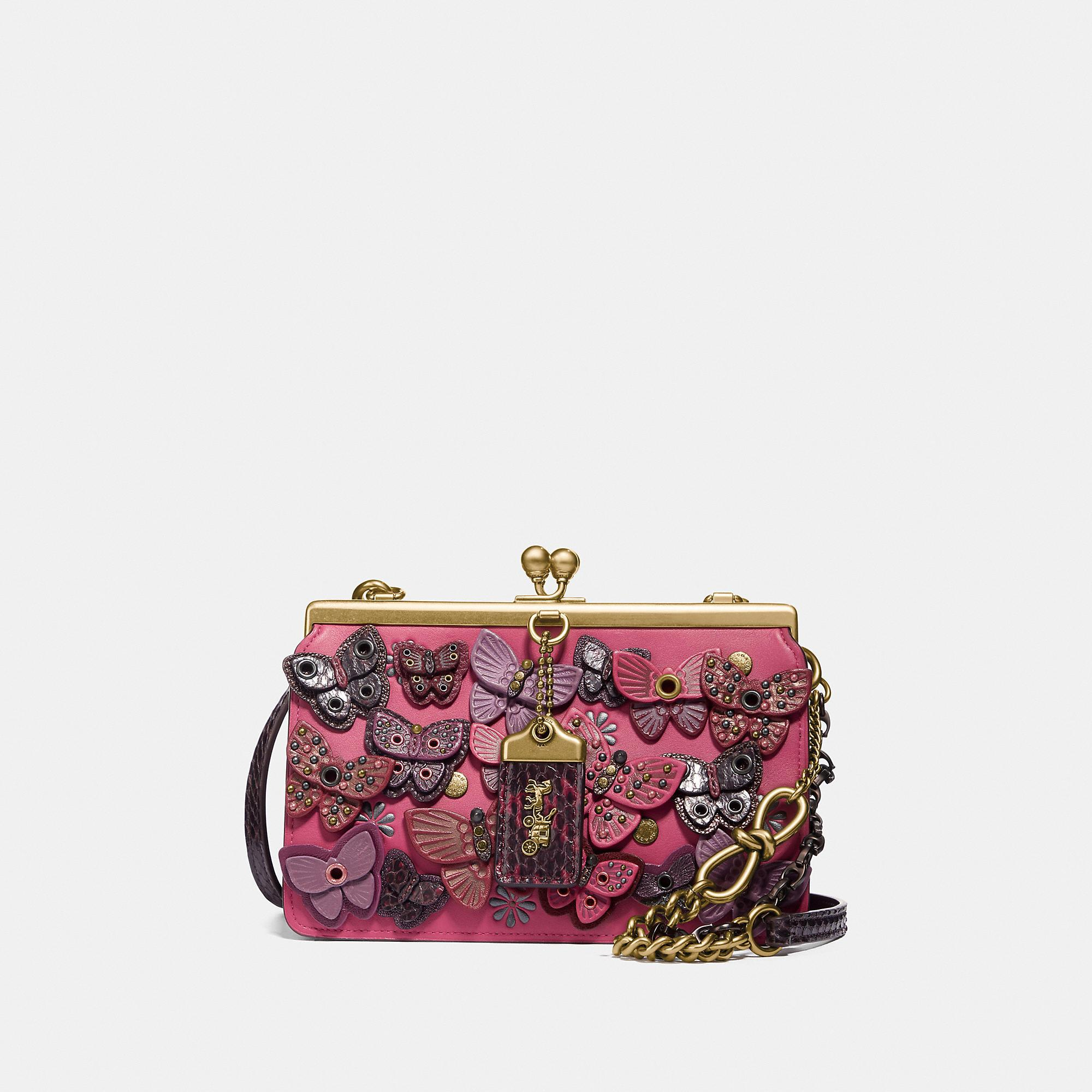 d9785e1e28 COACH. Women's Double Frame Bag 19 With Butterfly Applique And Snakeskin  Detail